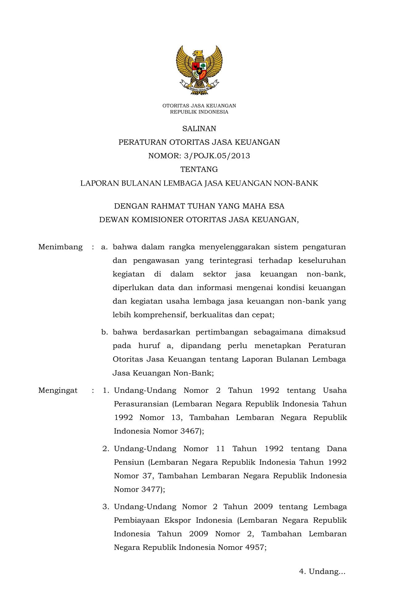 Salinan Peraturan Otoritas Jasa Keuangan Nomor 3