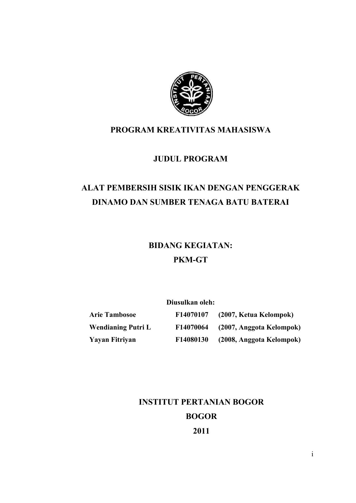 Program Kreativitas Mahasiswa Judul Program Alat