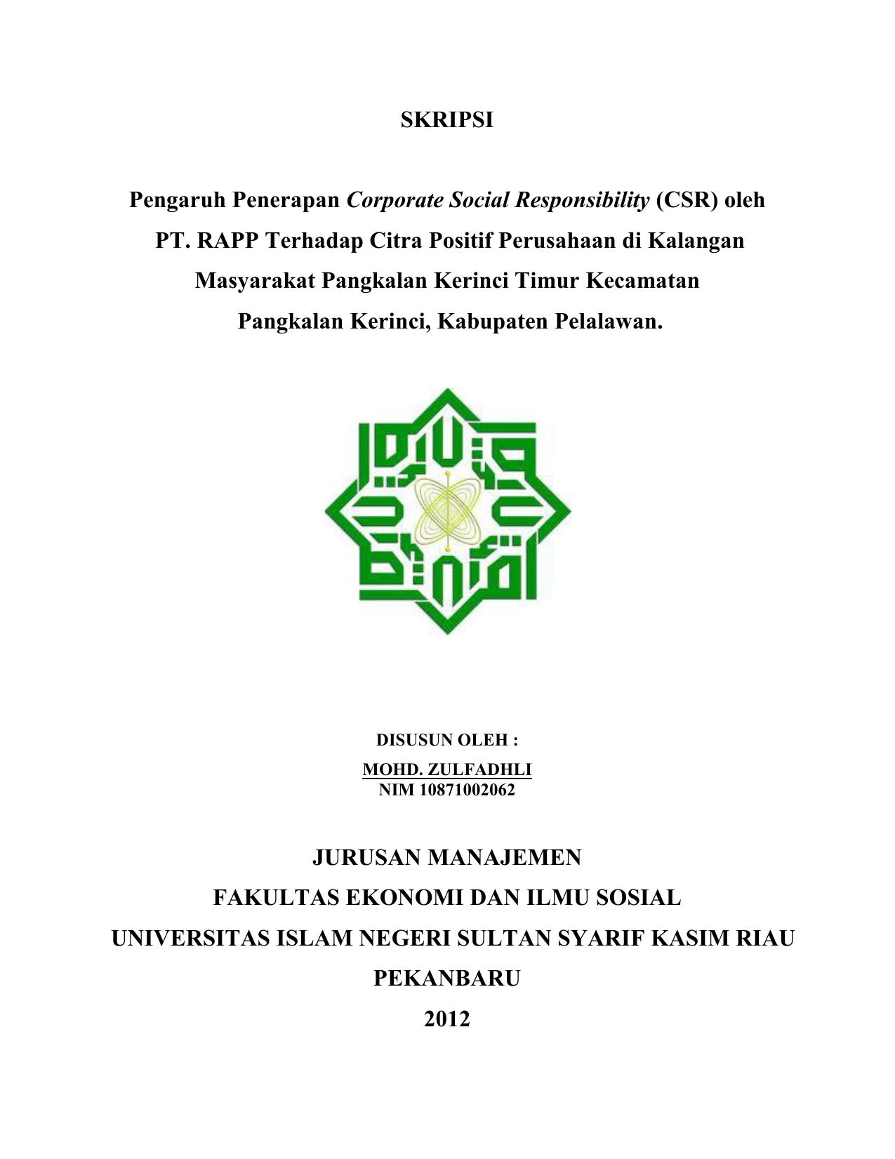 Skripsi Pengaruh Penerapan Corporate Social Responsibility Csr