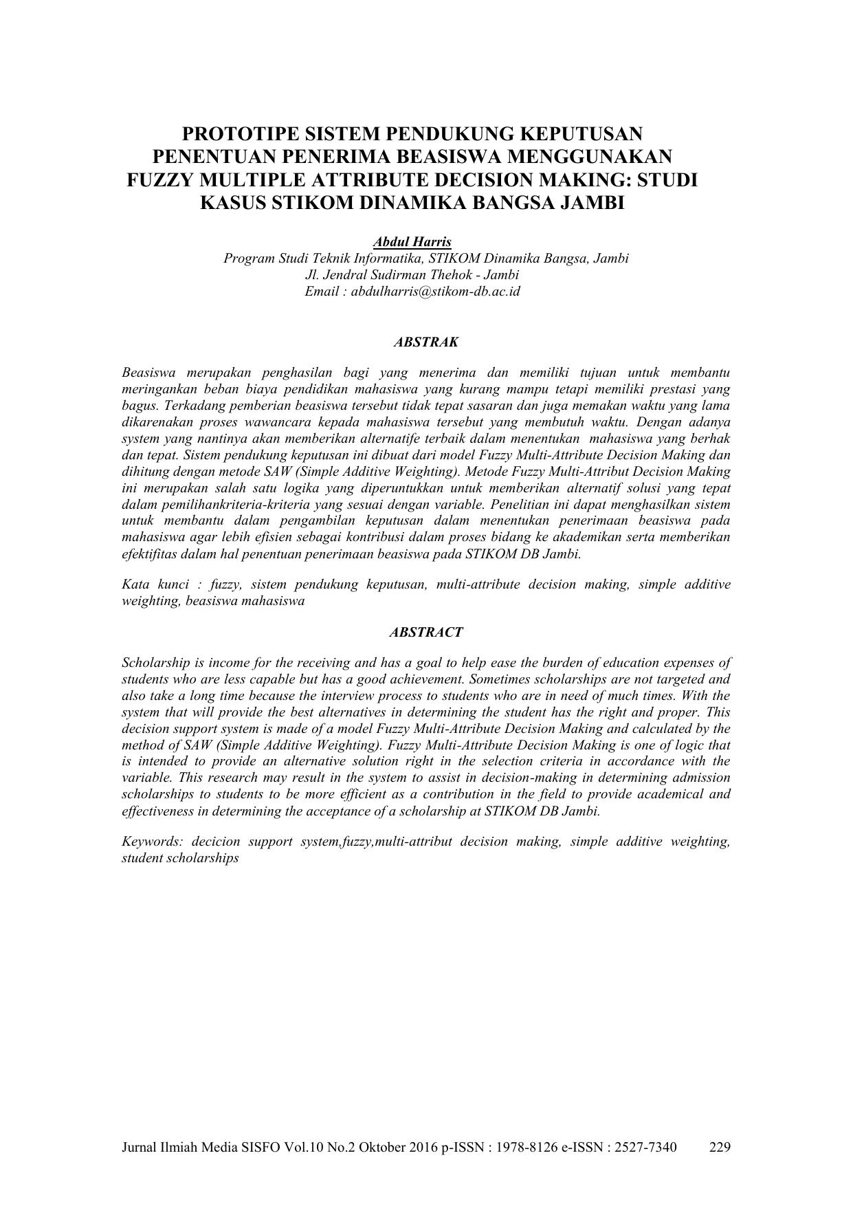 Judul Skripsi Sistem Pendukung Keputusan Contoh Sistem Informasi