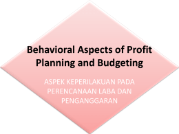 behavioural aspect of budgeting in public