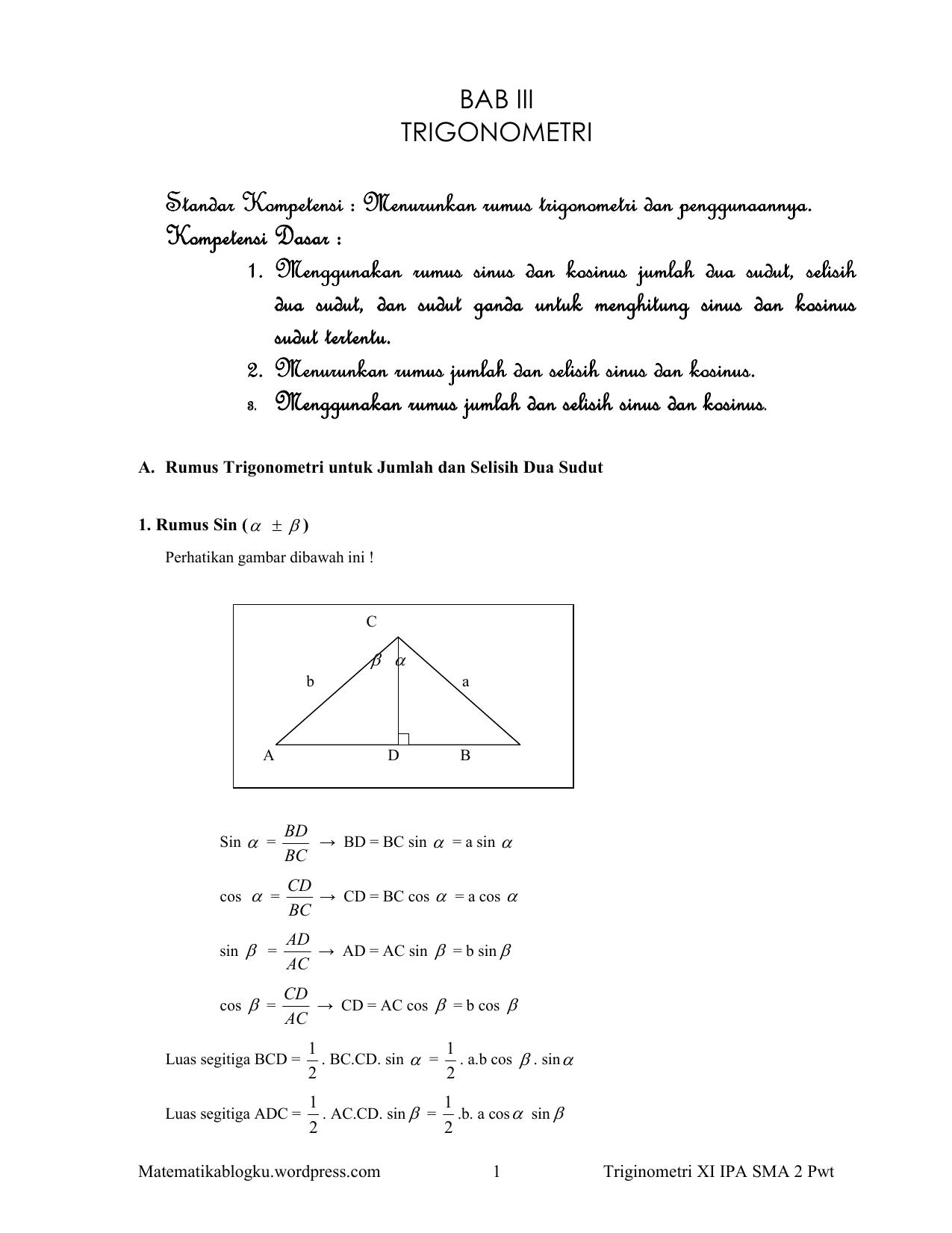 Trigonometri Xi Ipa Matematikablogku