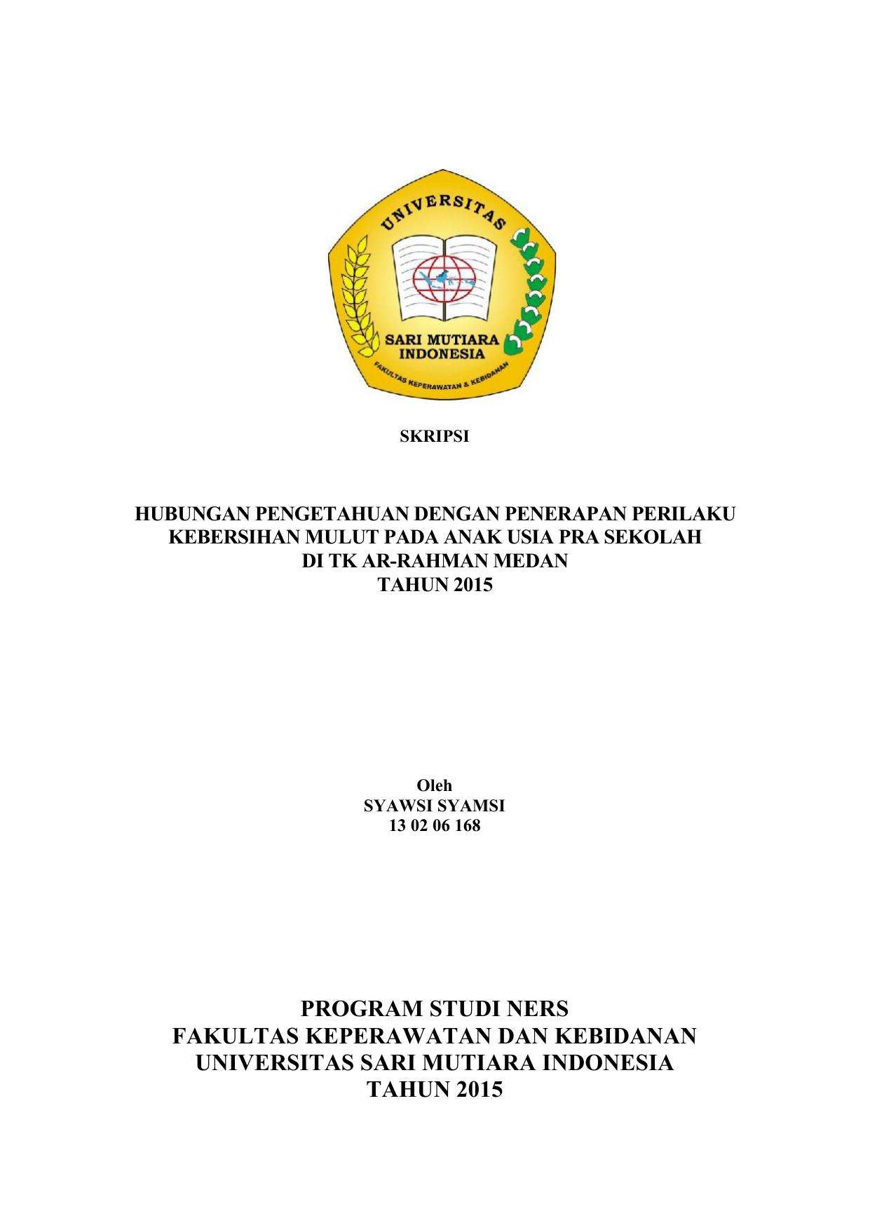 Program Studi Ners Fakultas Keperawatan Dan Kebidanan Universitas