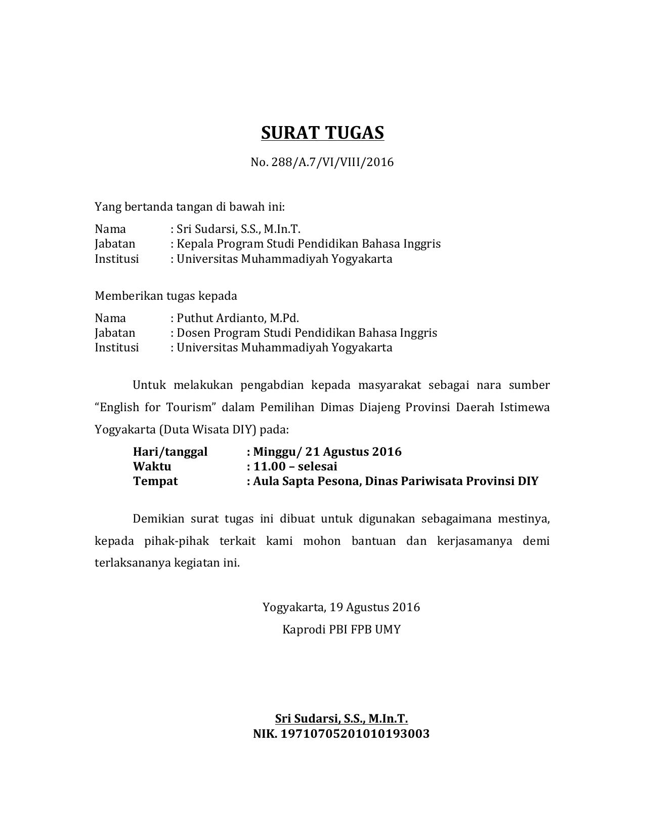 Surat Tugas Umy Repository