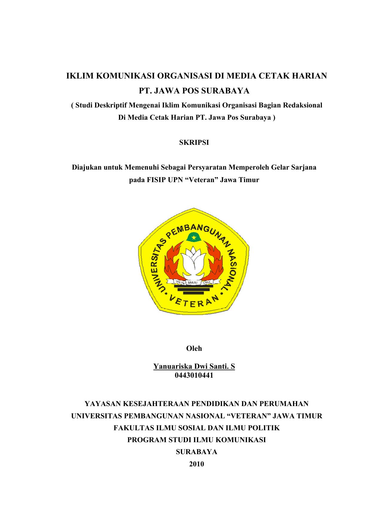 Iklim Komunikasi Organisasi Jawa Pos Dengan Komputek Di Pt