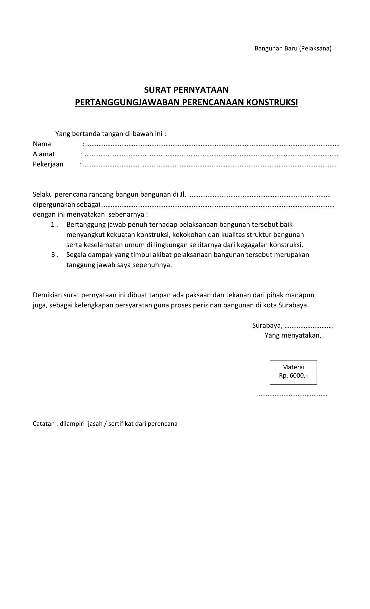 Surat Pernyataan Pertanggungjawaban