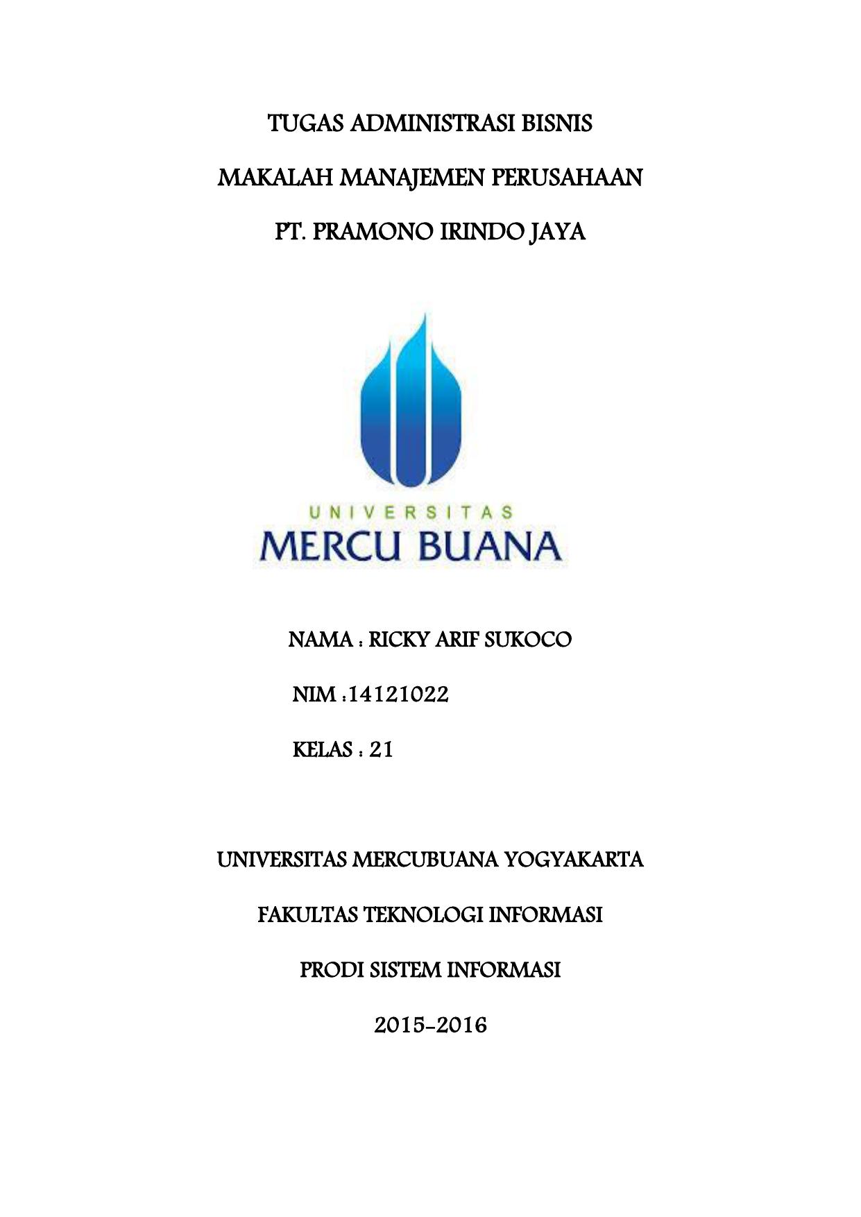 Contoh Makalah Manajemen Strategi Perusahaan Aqua