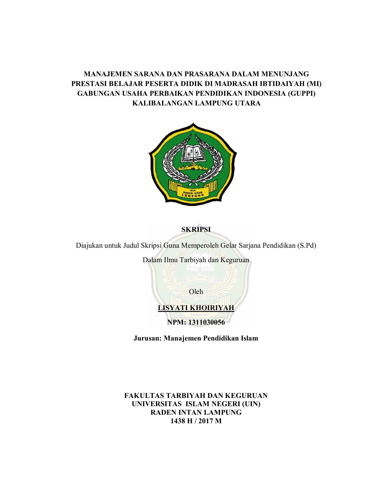Contoh Judul Skripsi Manajemen Pendidikan Islam Kumpulan Berbagai Skripsi