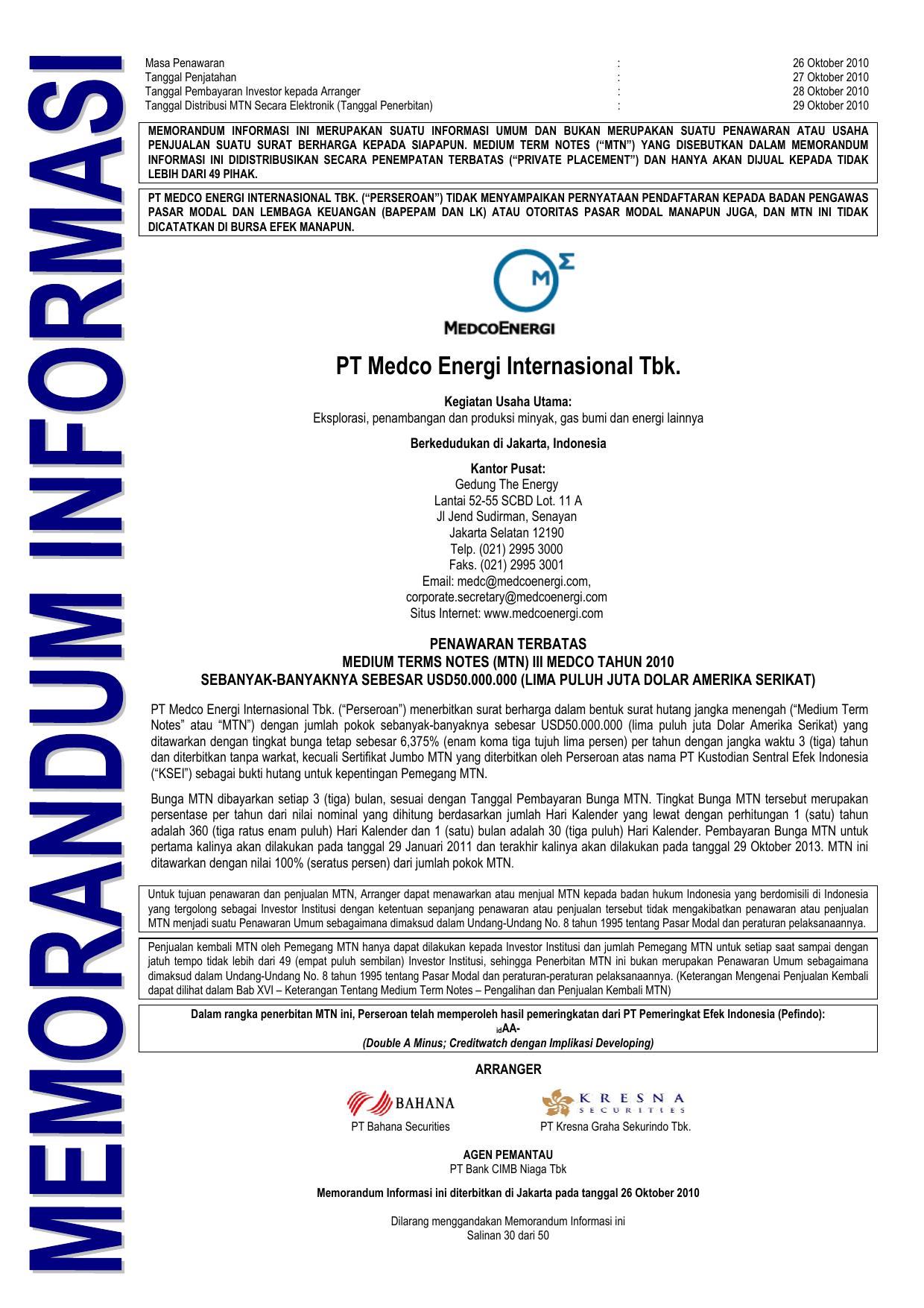 Pt Medco Energi Internasional Tbk