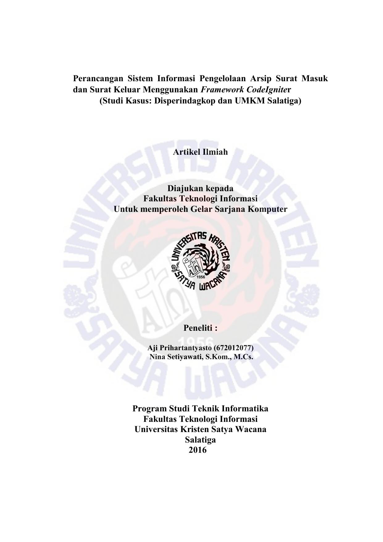 Perancangan Sistem Informasi Pengelolaan Arsip Surat Masuk Dan