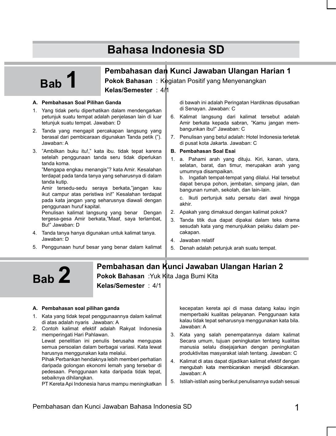 Bahasa Indonesia Sd