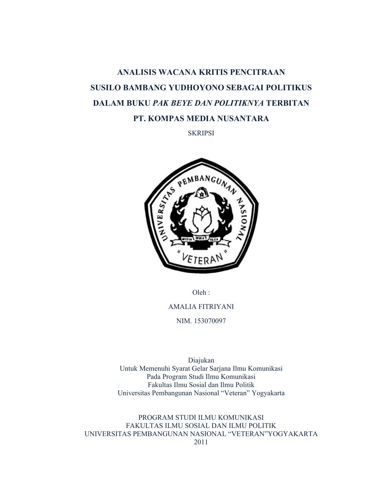 Analisis Wacana Kritis Pencitraan Susilo Bambang Yudhoyono