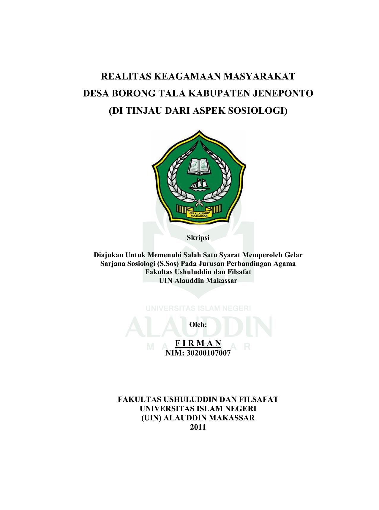 Realitas Keagamaan Masyarakat Desa Borong Tala Kabupaten