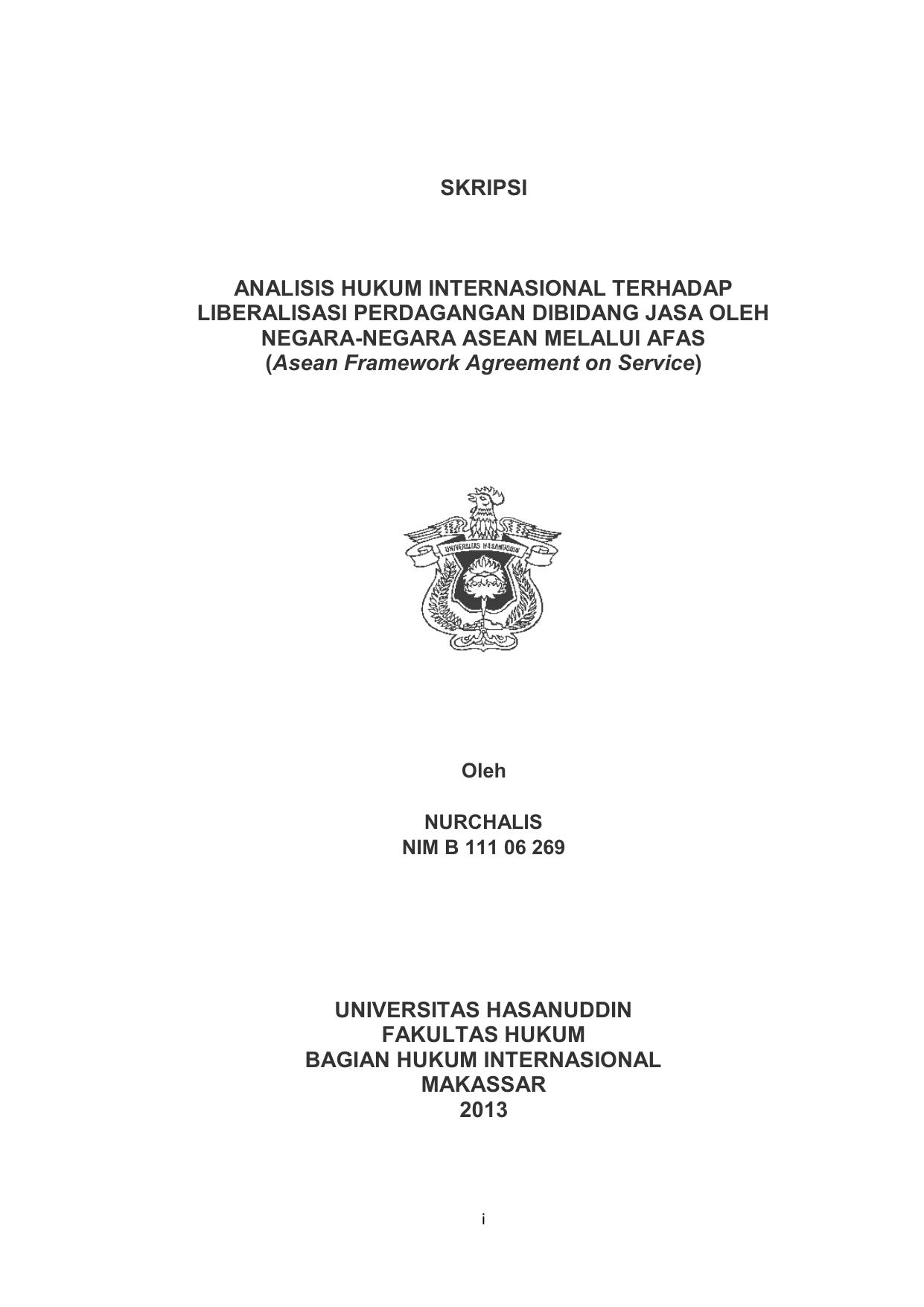 Skripsi Analisis Hukum Internasional Terhadap