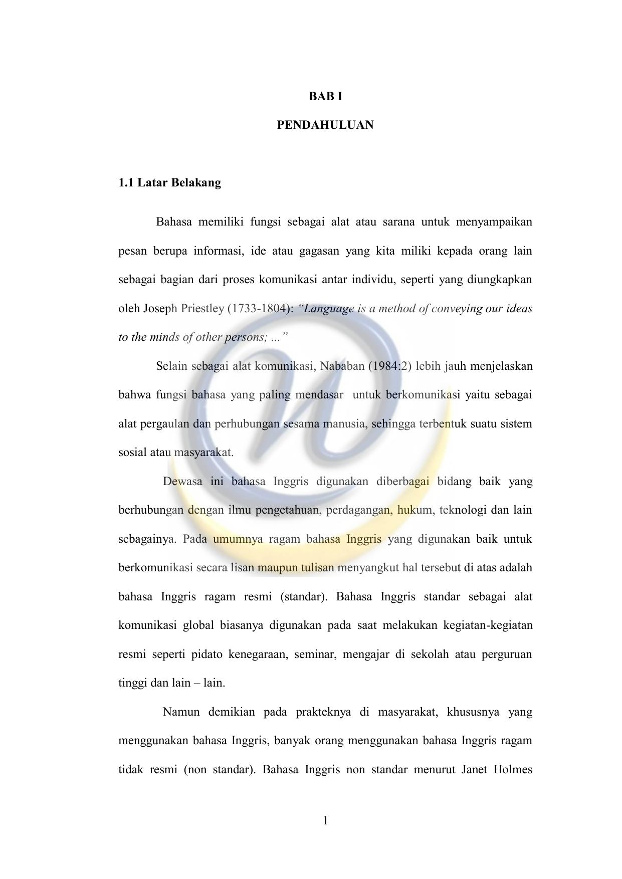 Contoh Background Skripsi Bahasa Inggris Speaking Kumpulan Berbagai Skripsi