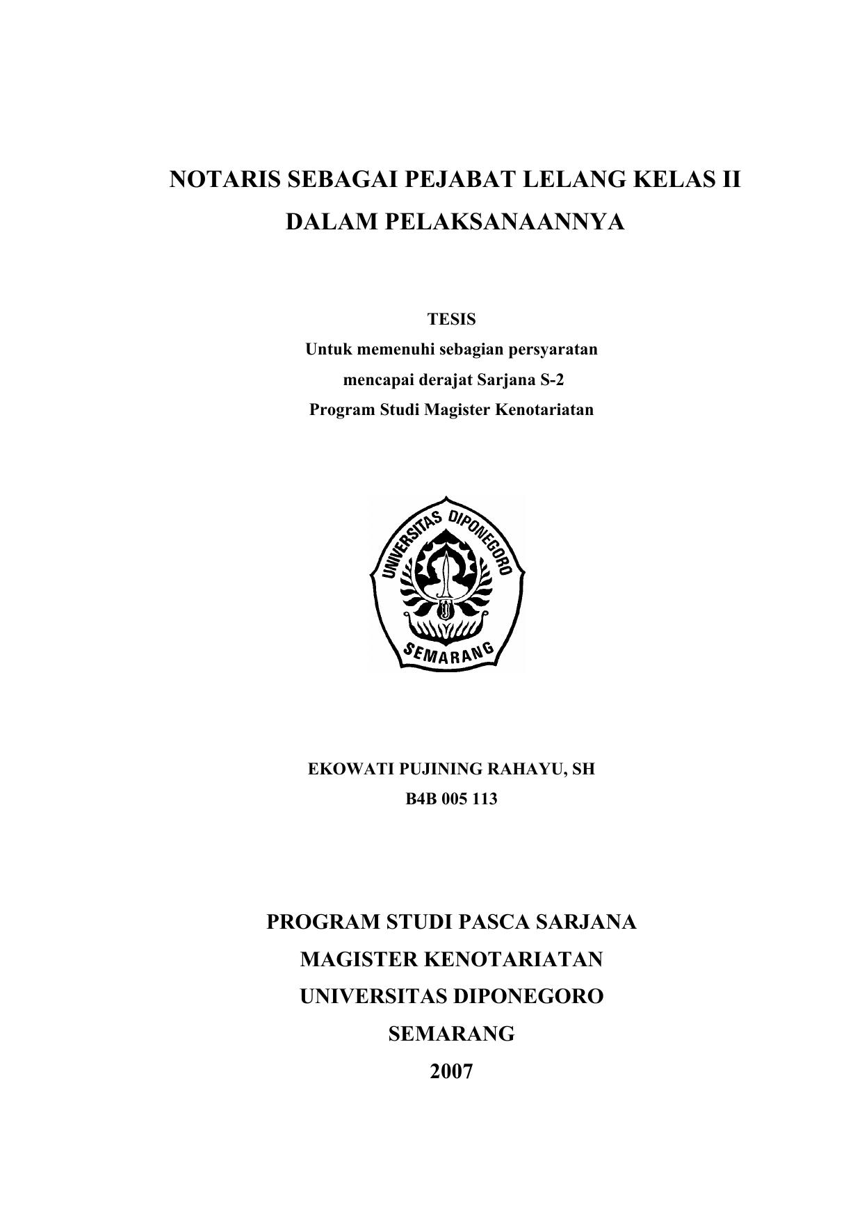 Notaris Sebagai Pejabat Lelang Kelas Ii Dalam