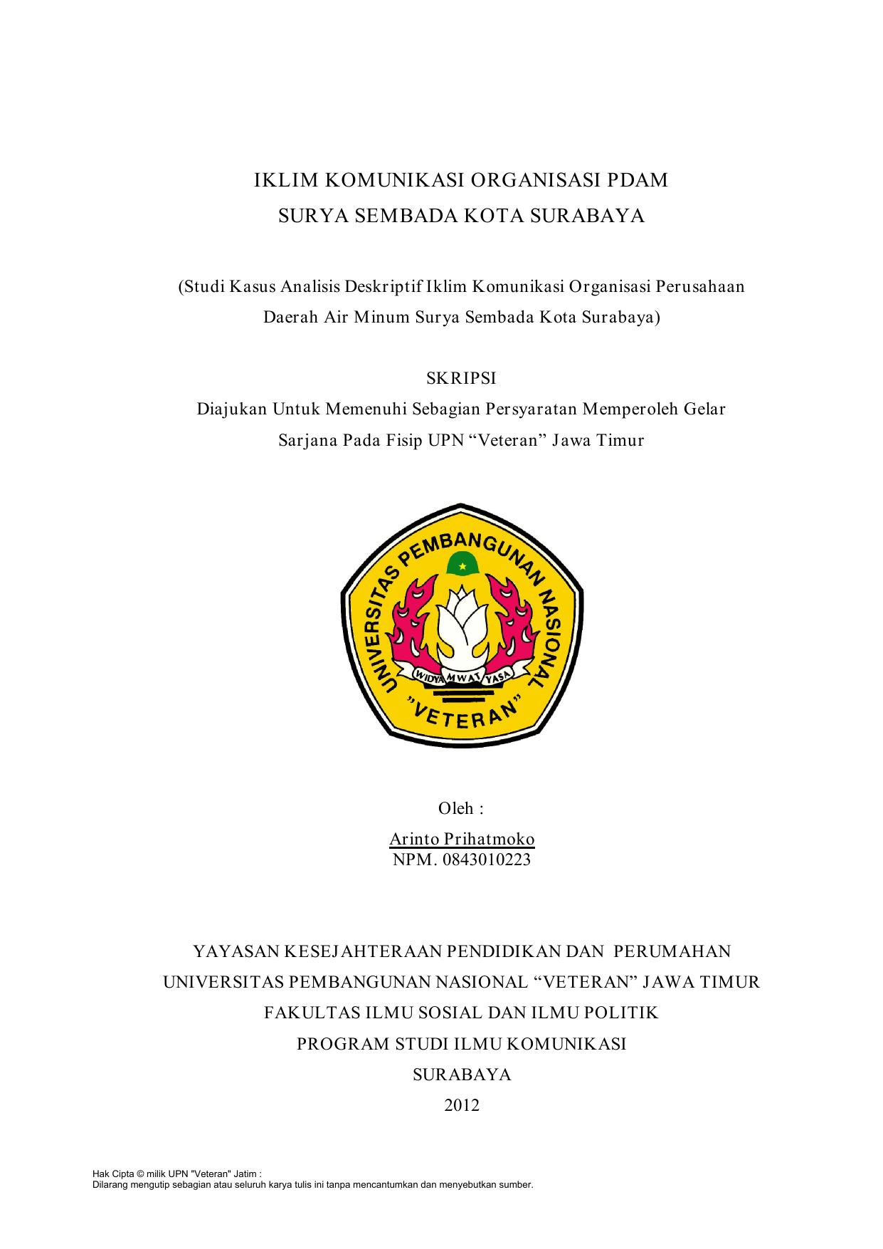 Iklim Komunikasi Organisasi Pdam Surya Sembada Kota Surabaya