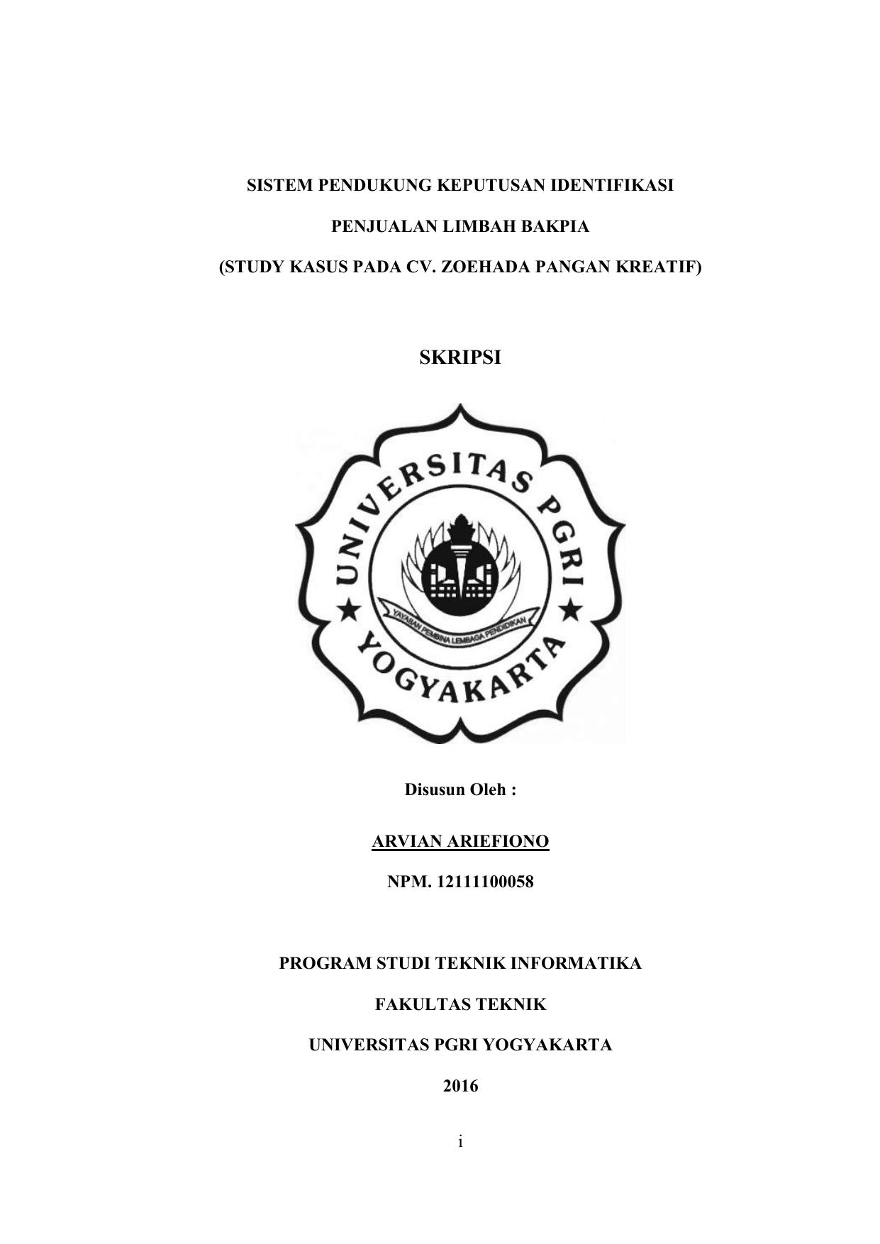 Skripsi Repository Universitas Pgri Yogyakarta
