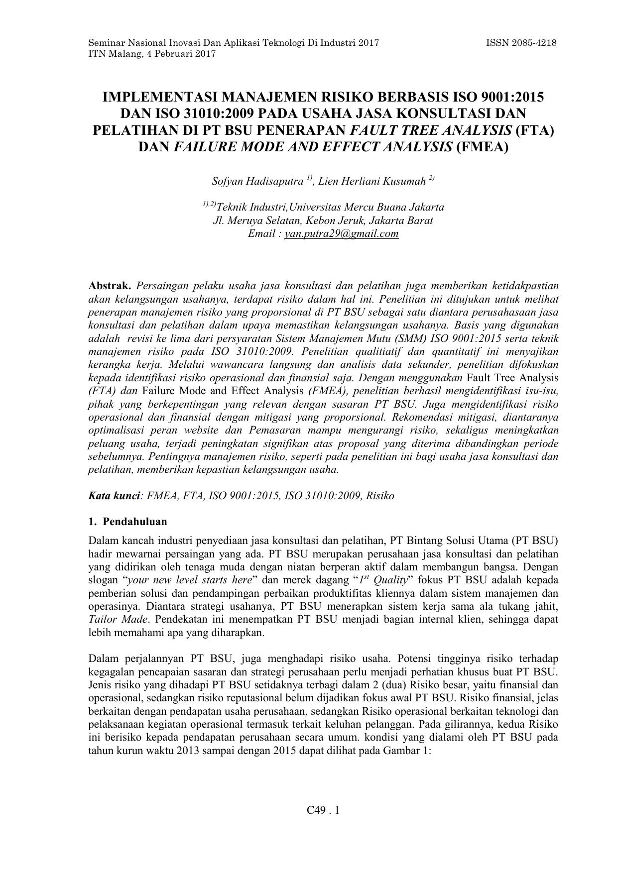 Implementasi Manajemen Risiko Berbasis Iso 9001 2015 Dan Iso