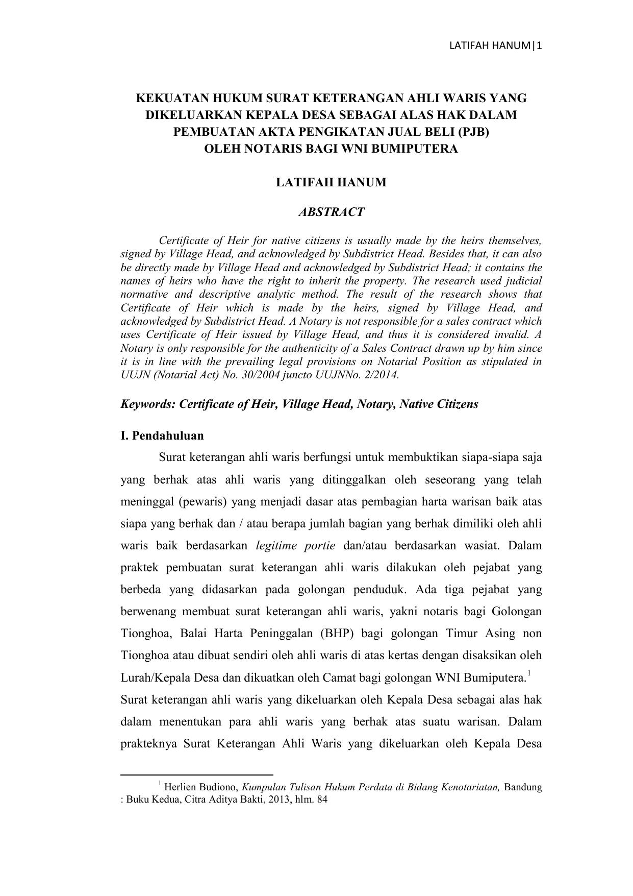 Kekuatan Hukum Surat Keterangan Ahli Waris Yang