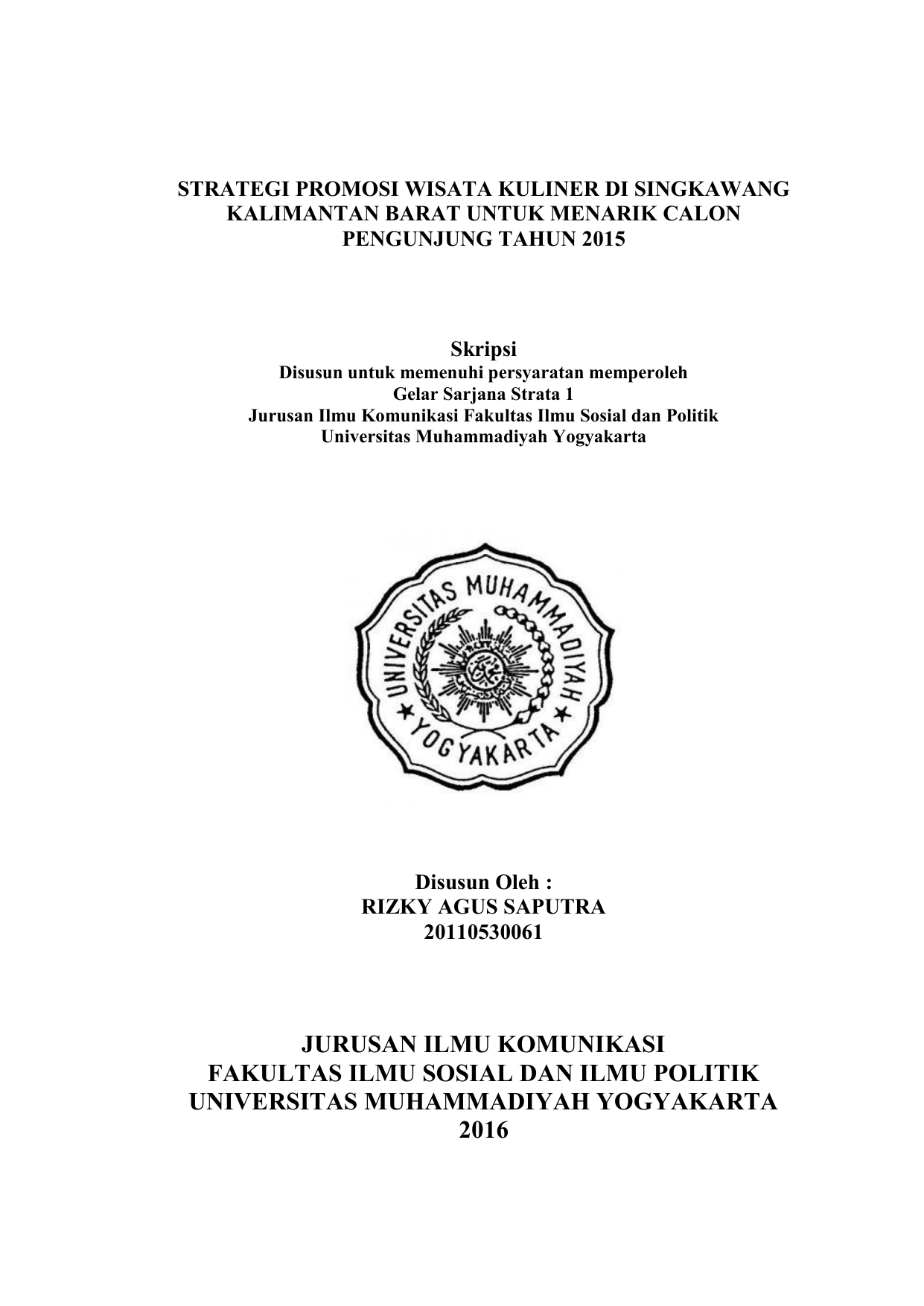 Jurusan Ilmu Komunikasi Fakultas Ilmu Sosial Dan