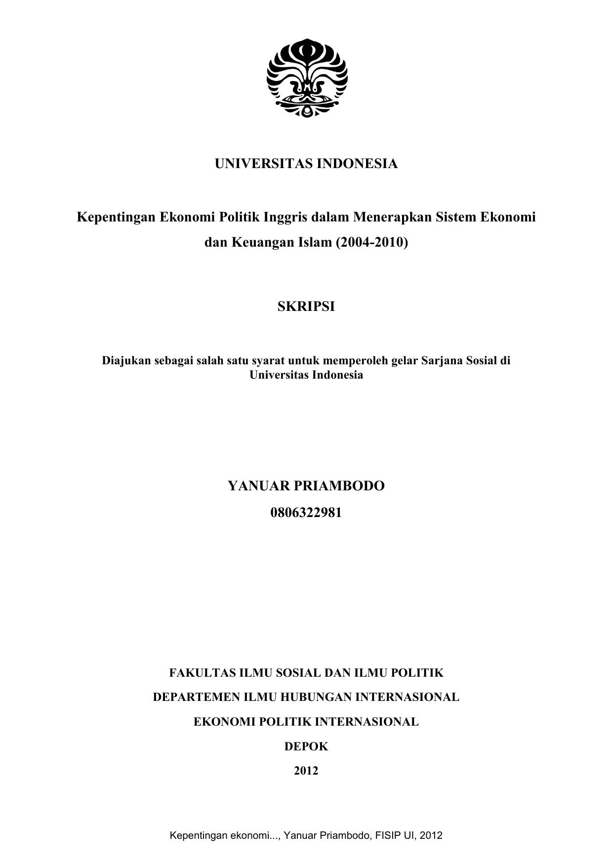 Universitas Indonesia Kepentingan Ekonomi Politik Inggris