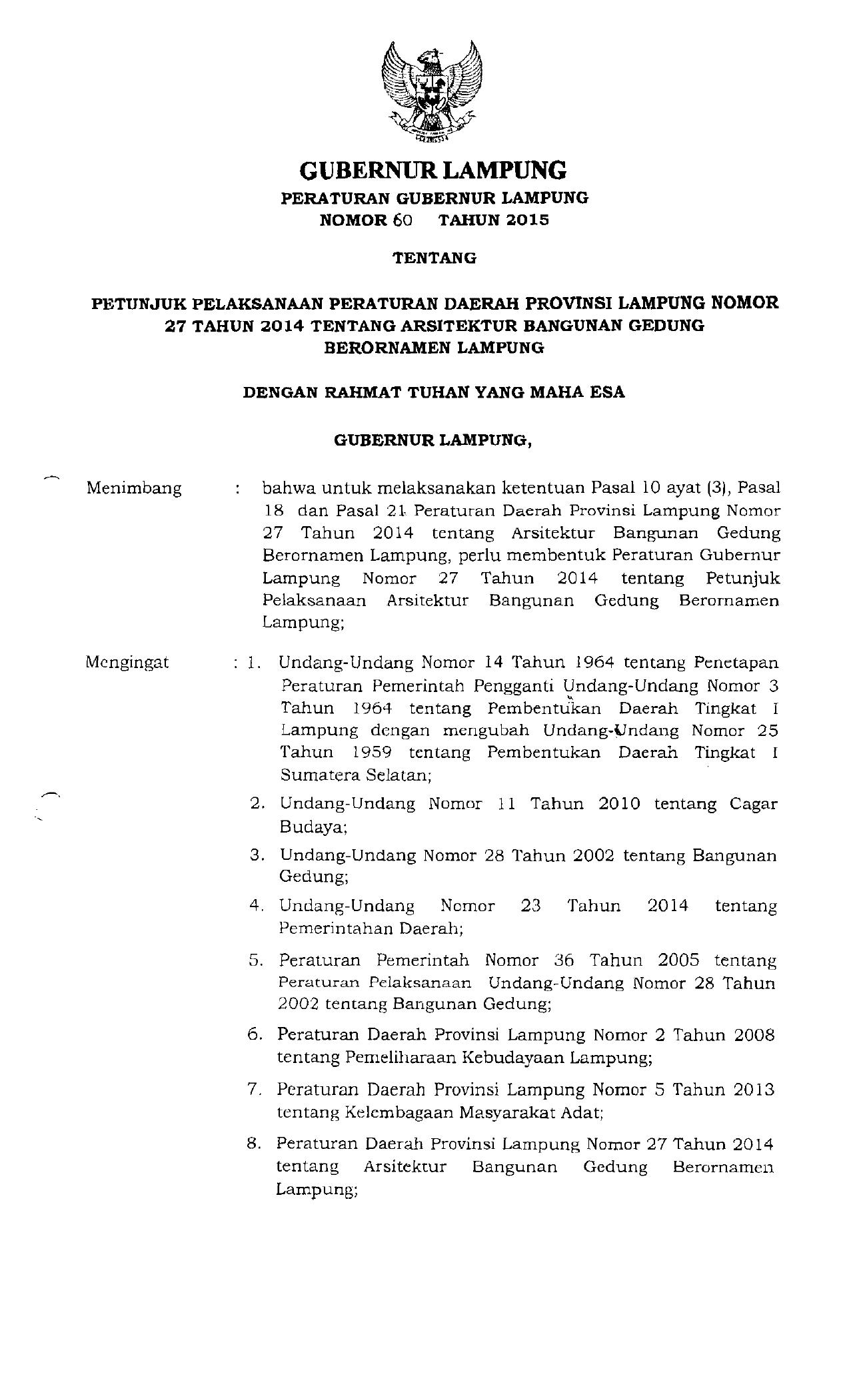 Gubernur Lampung Provinsi Lampung
