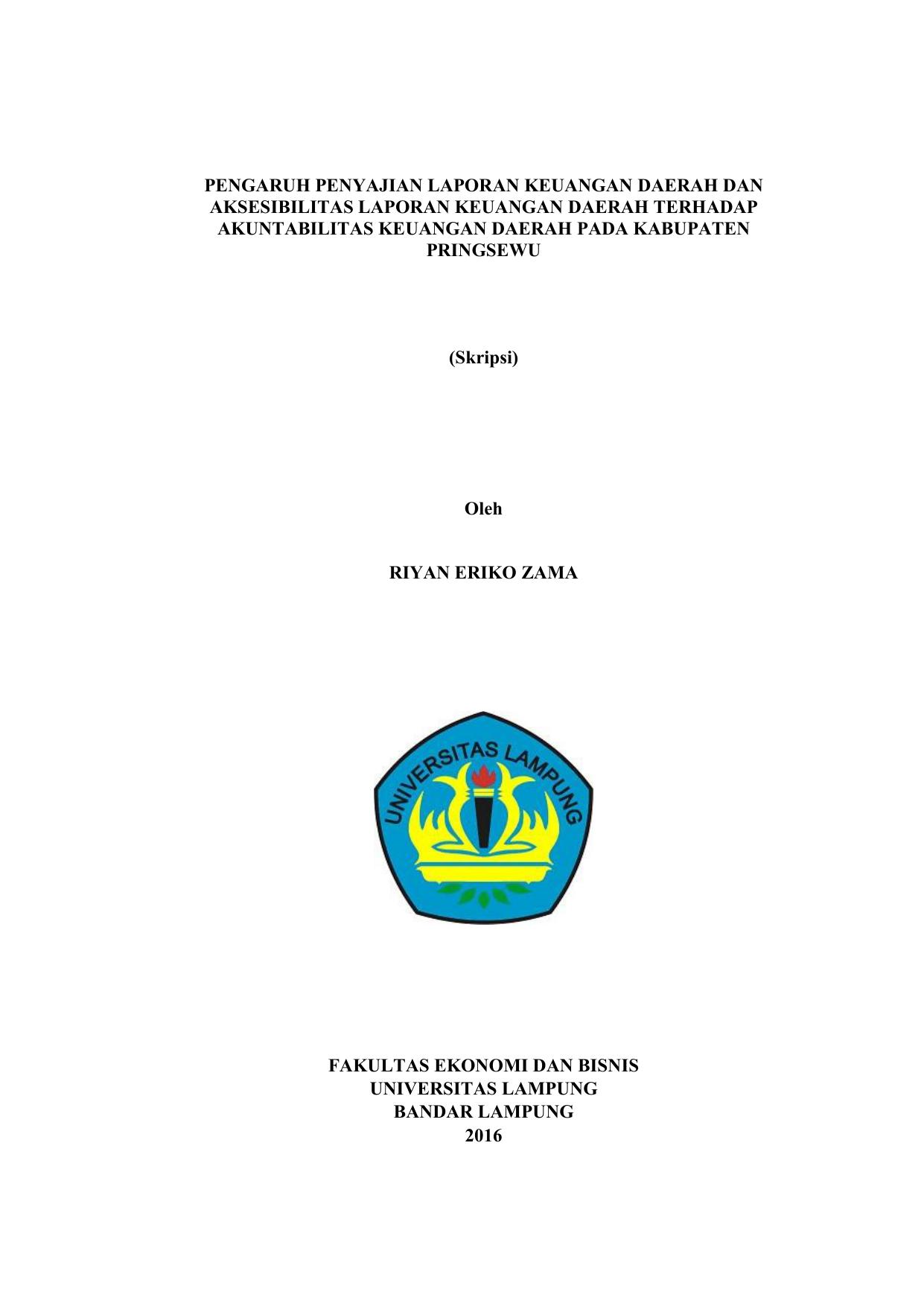 Pengaruh Penyajian Laporan Keuangan Daerah Dan Aksesibilitas