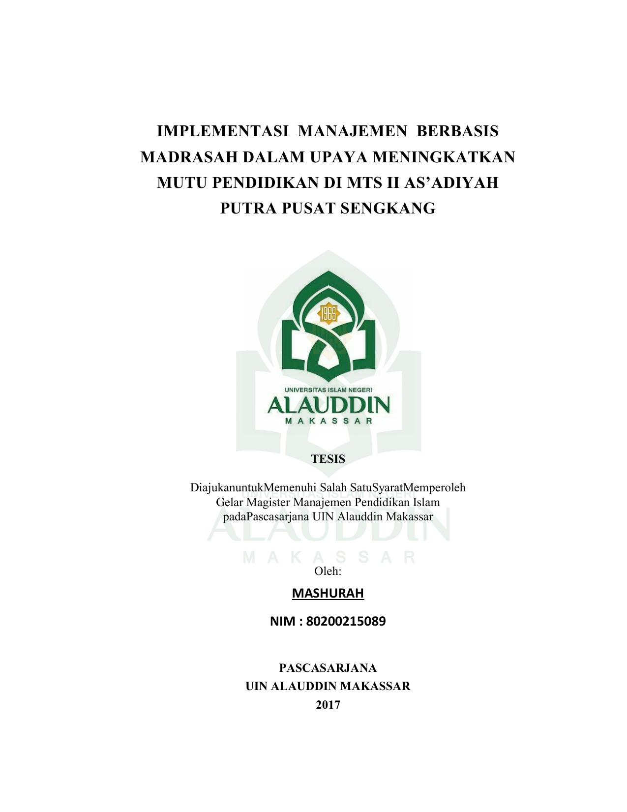 implementasi manajemen berbasis madrasah dalam upaya implementasi manajemen berbasis