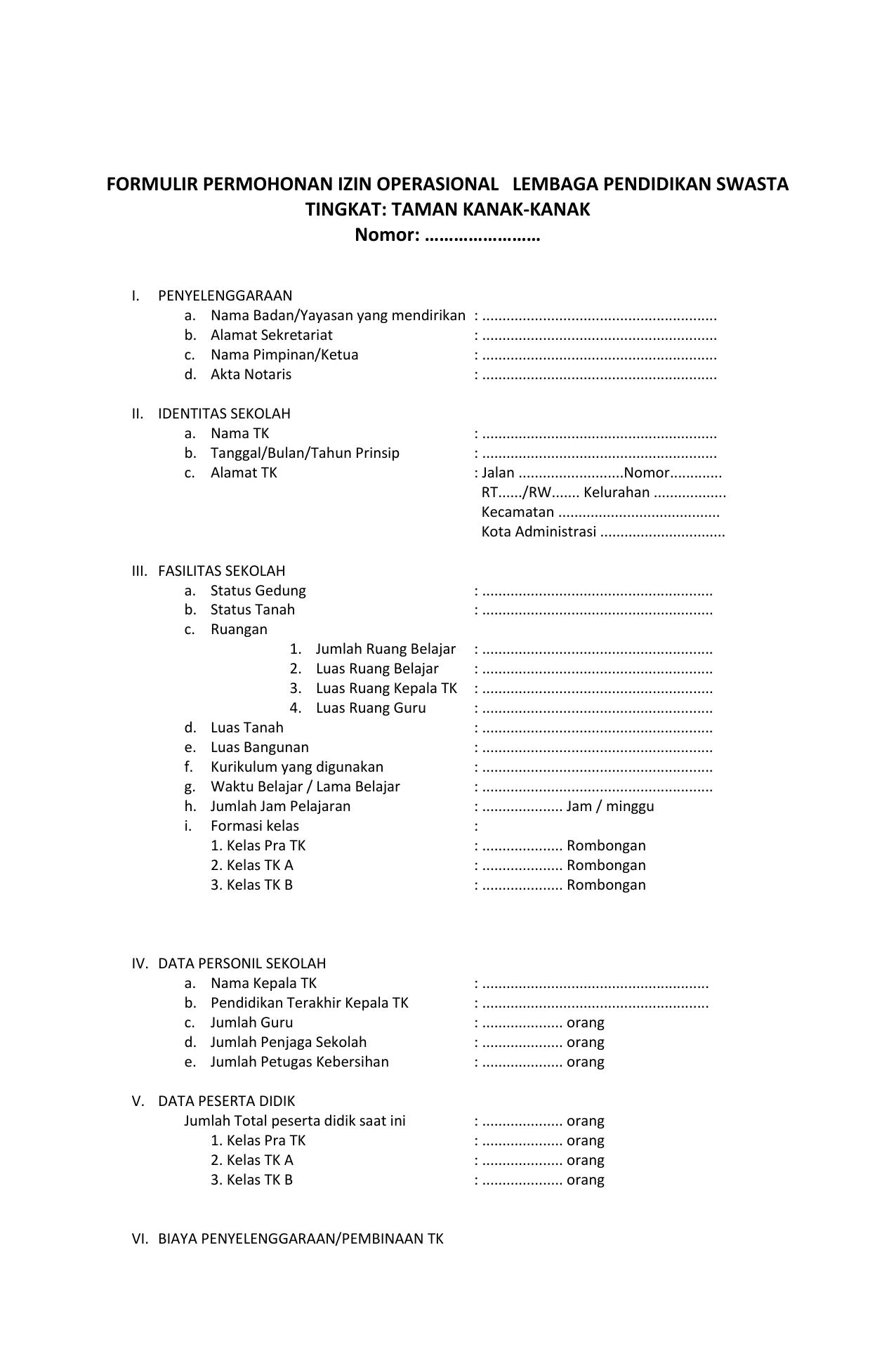 Formulir Permohonan Izin Operasional Lembaga