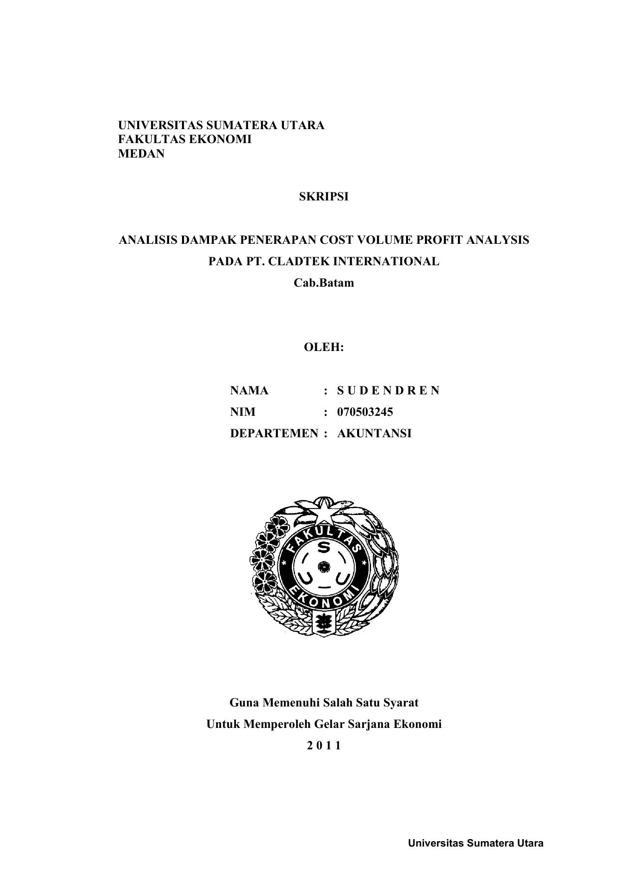 Universitas Sumatera Utara Fakultas Ekonomi Medan Skripsi Analisis