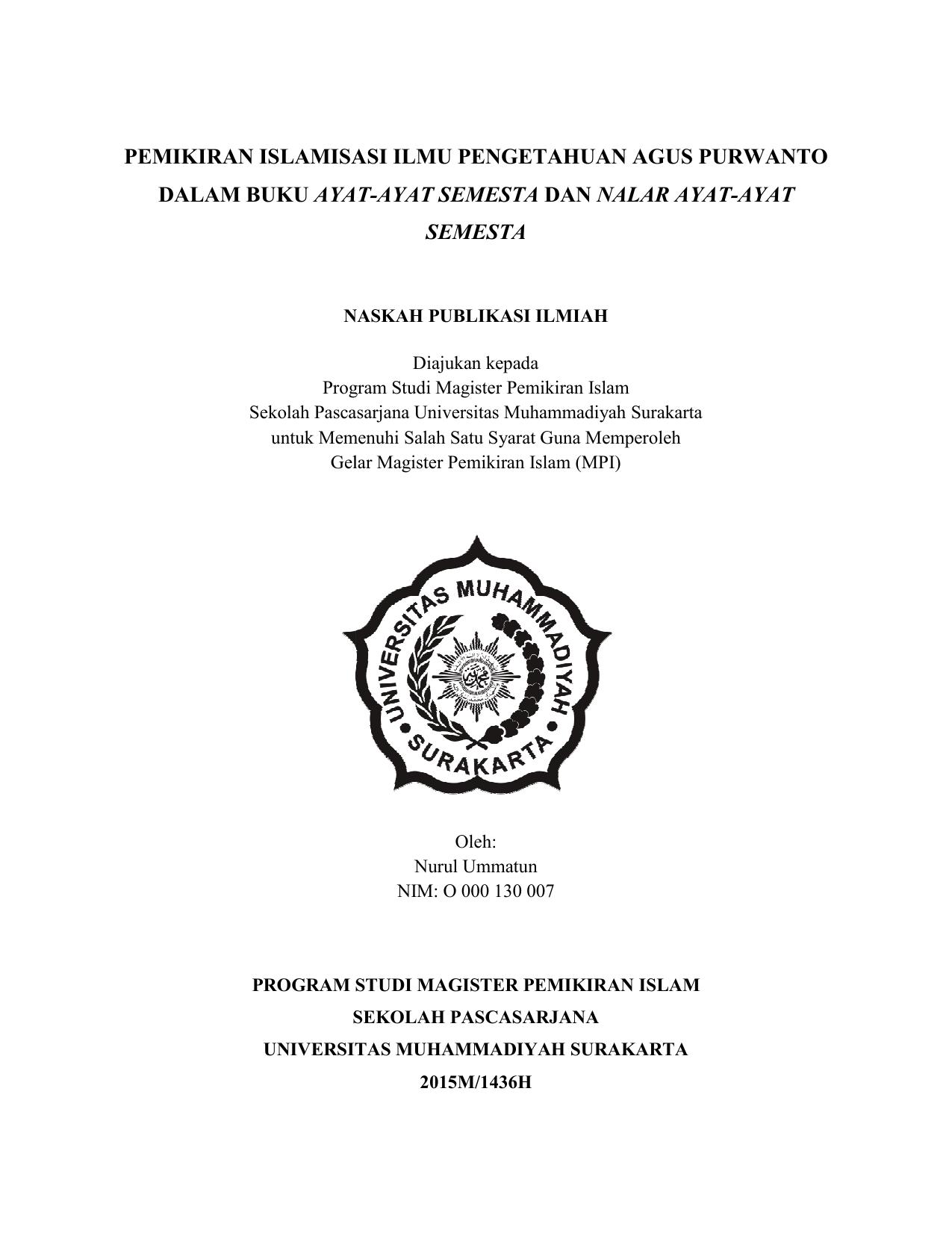 Pemikiran Islamisasi Dalam Buku Ayat Islamisasi Ilmu Pengetahuan