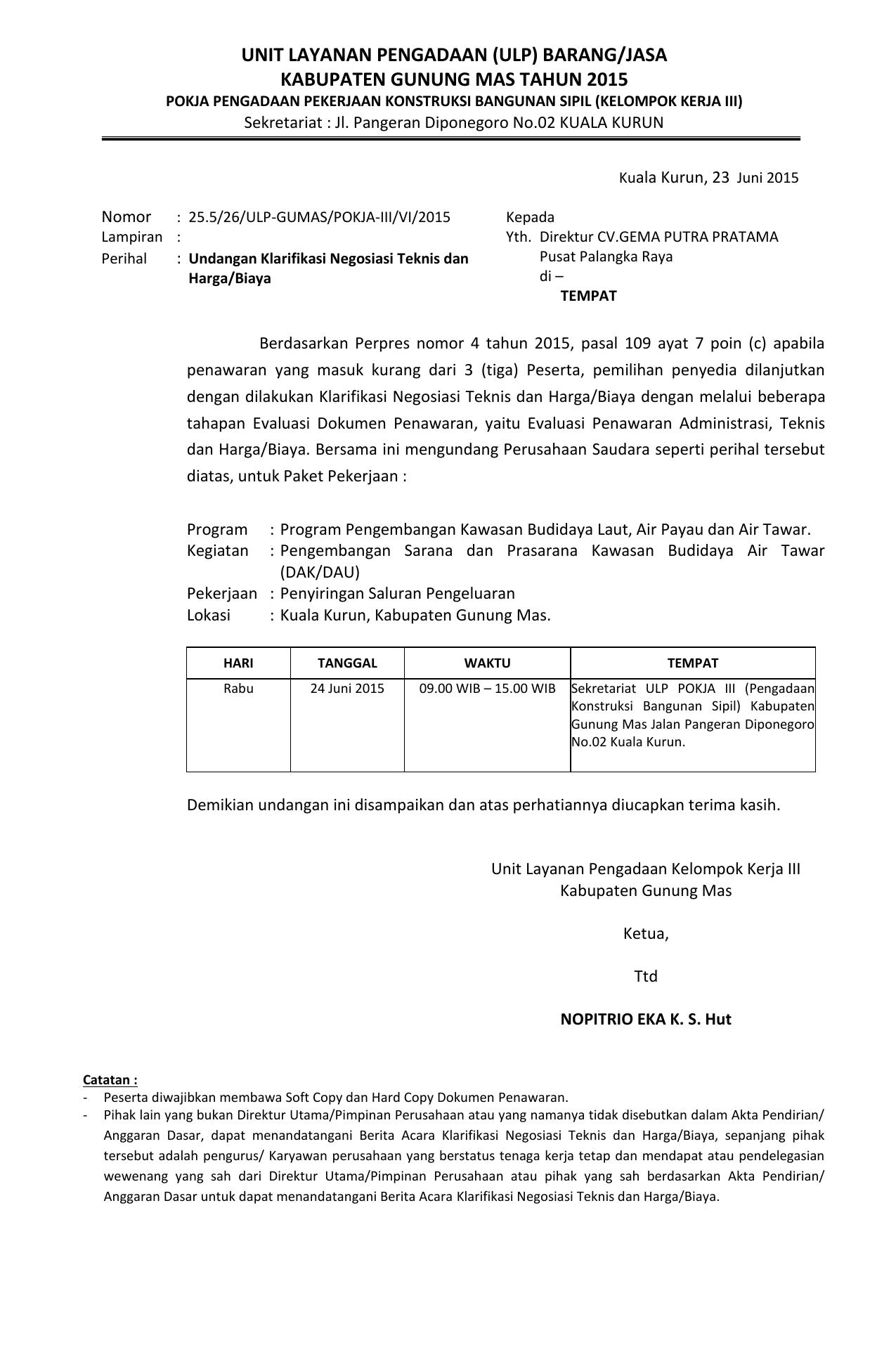 Unit Layanan Pengadaan Ulp Barang Jasa Kabupaten Gunung Mas
