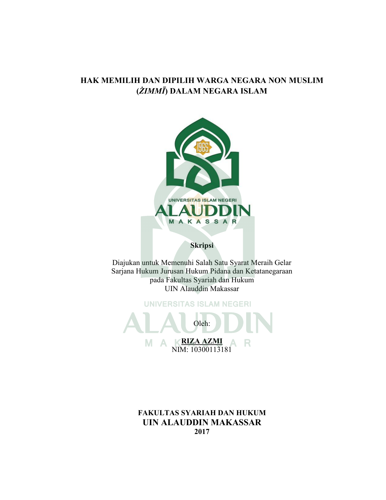 Skripsi Hukum Tata Negara Uin Alauddin