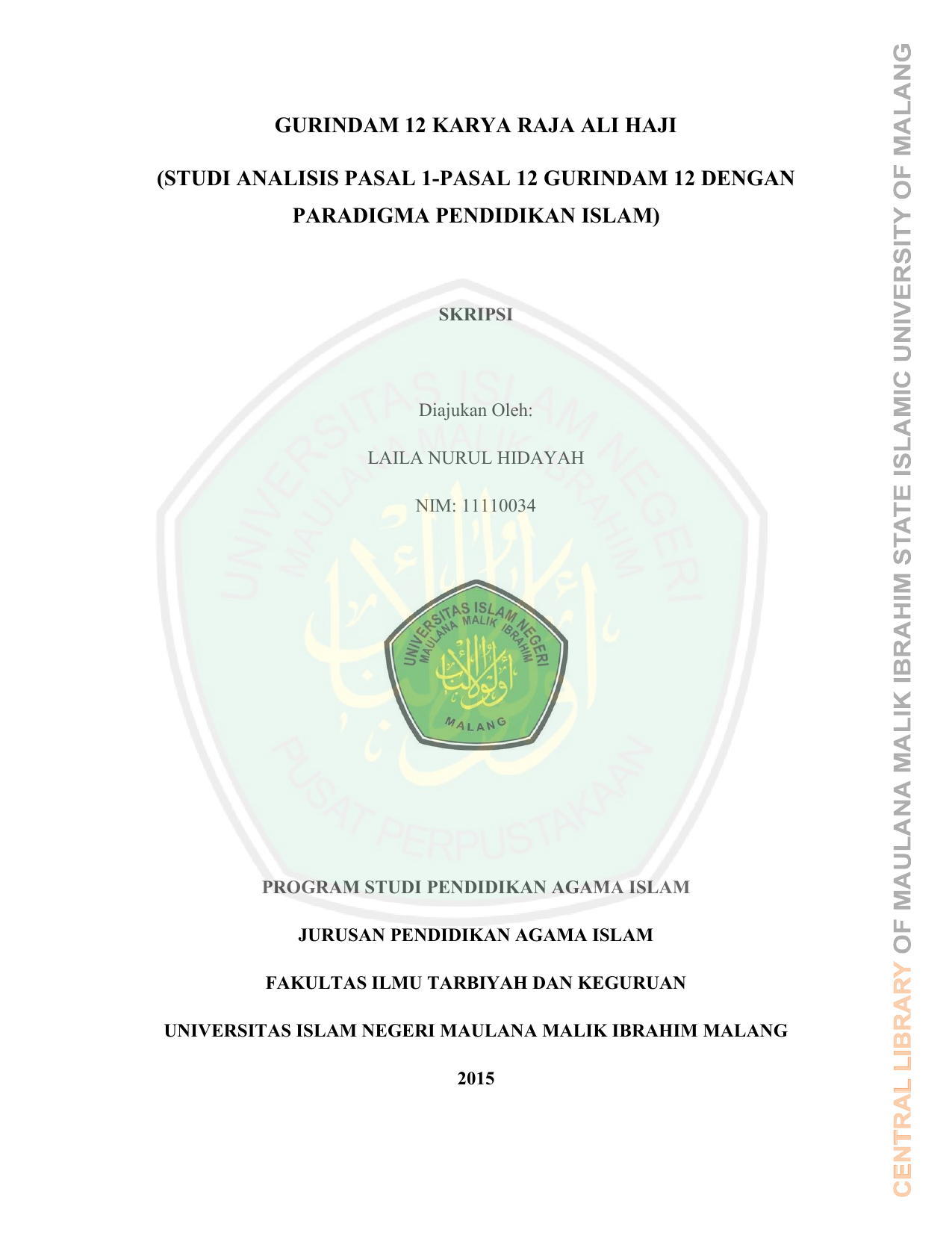 Gurindam 12 Karya Raja Ali Haji Studi Analisis Pasal 1