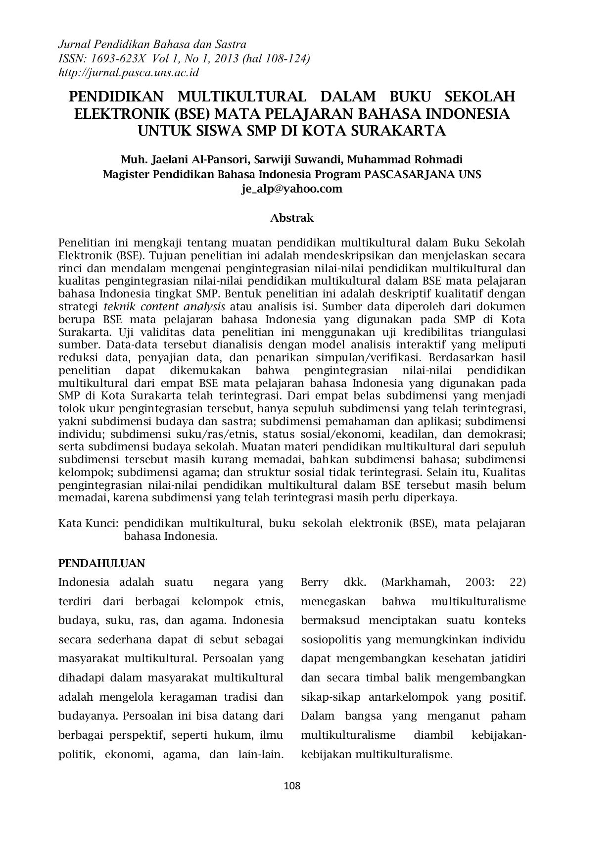 contoh essay mengenai pendidikan multikulturalisme yang diterapkan di indonesia