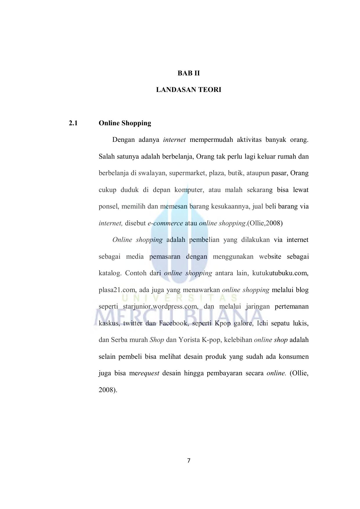Bab Ii Landasan Teori 2 1 Online Shopping Dengan Adanya