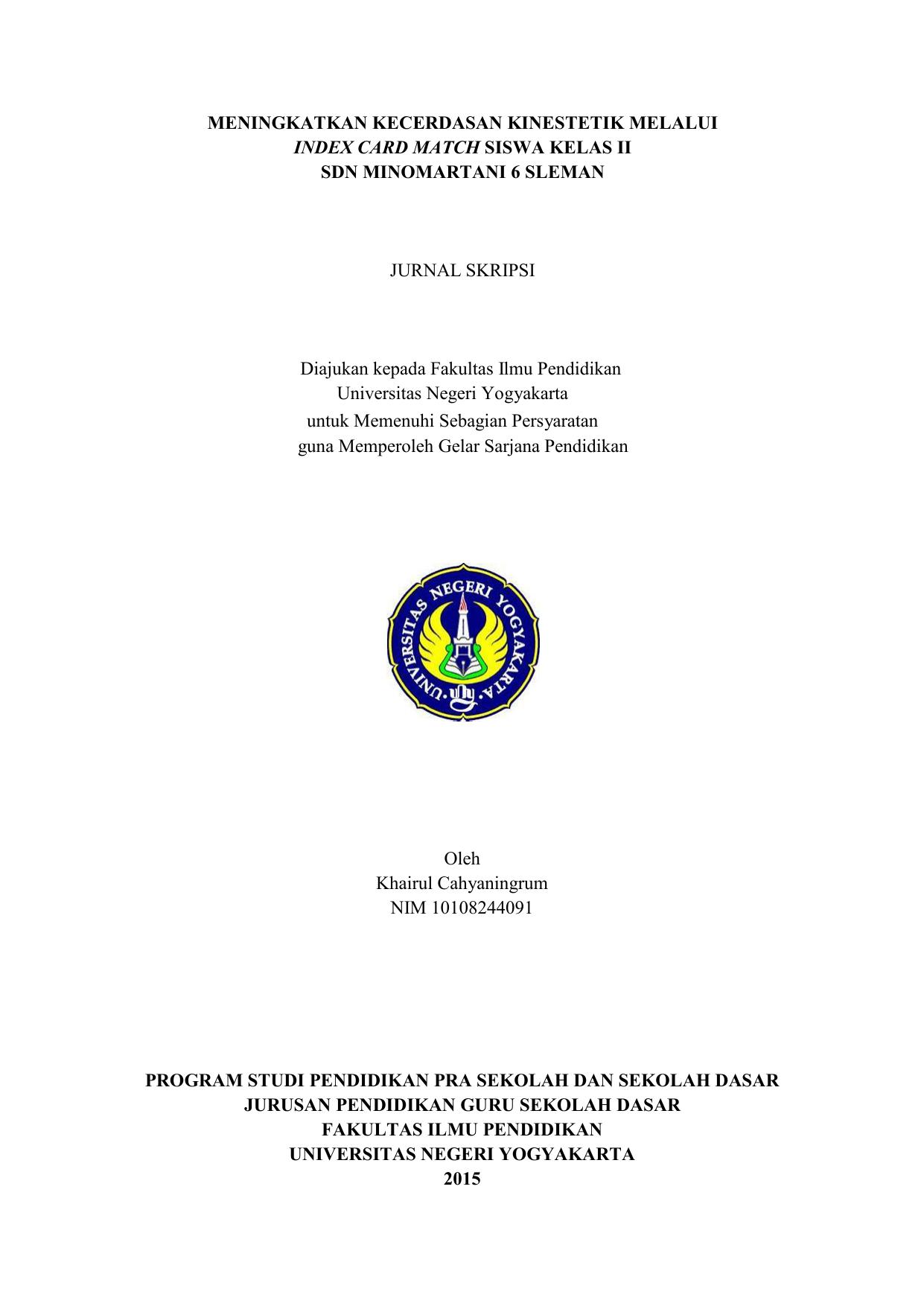 Meningkatkan Kecerdasan Kinestetik Melalui Index