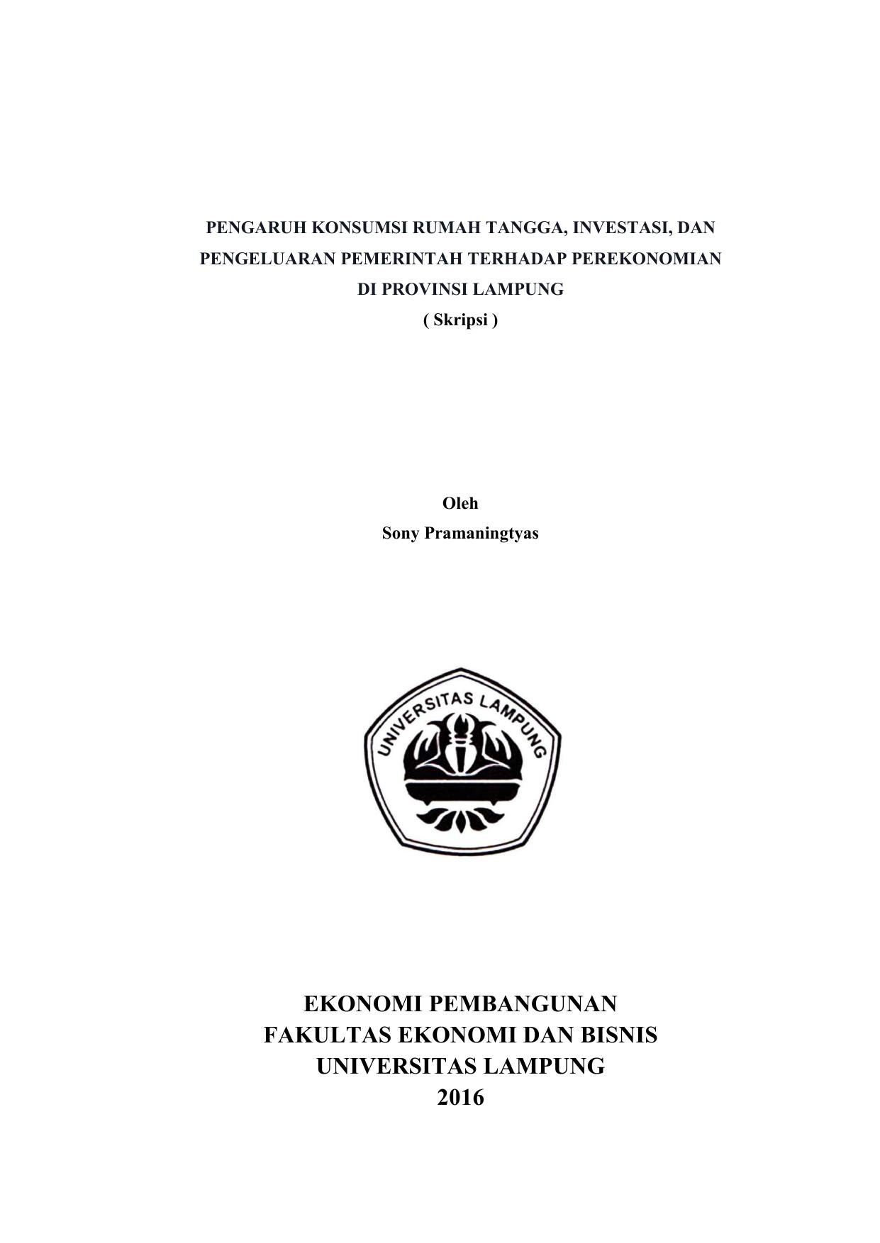 Ekonomi Pembangunan Fakultas Ekonomi Dan Bisnis Universitas
