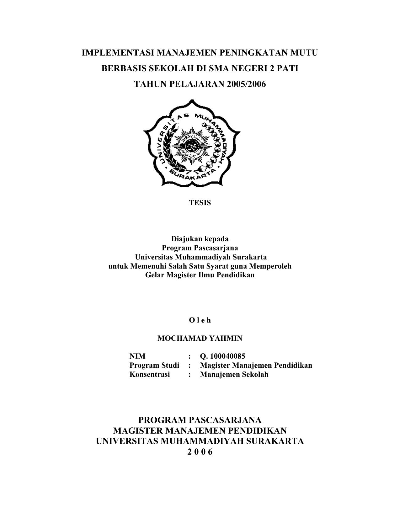 Contoh Soal Dan Materi Pelajaran 2 Contoh Tesis S2 Manajemen Pendidikan