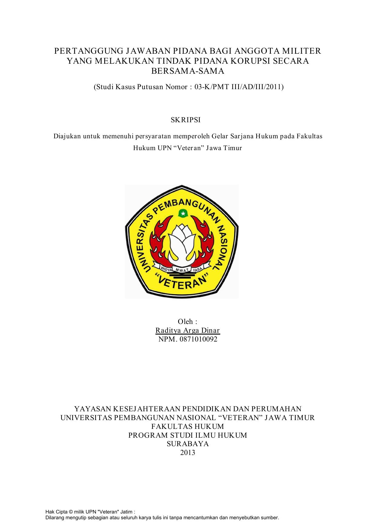 Pertanggung Jawaban Pidana Bagi Anggota Militer Yang Melakukan