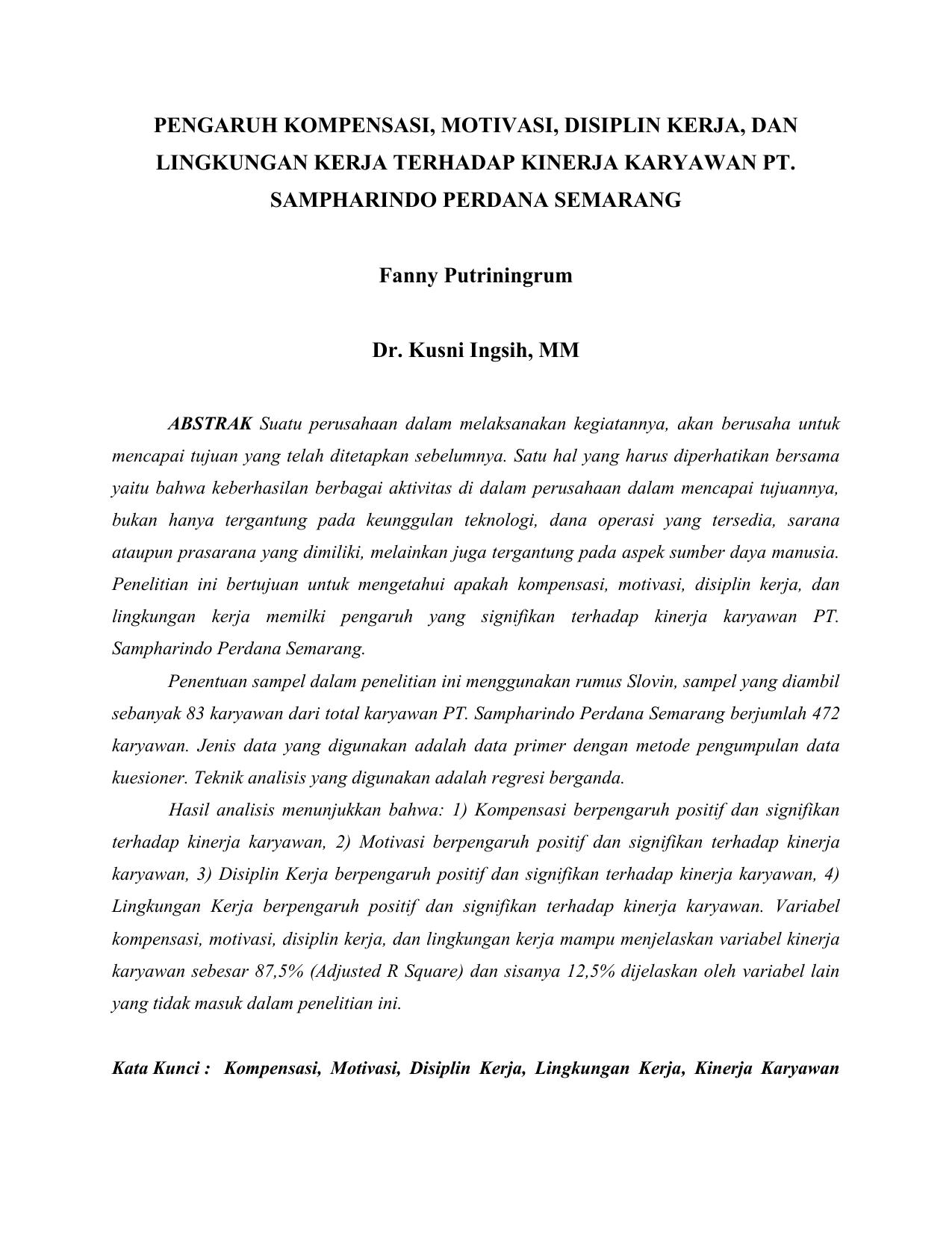 Pengaruh Kompensasi Motivasi Disiplin Kerja Dan Lingkungan Kerja