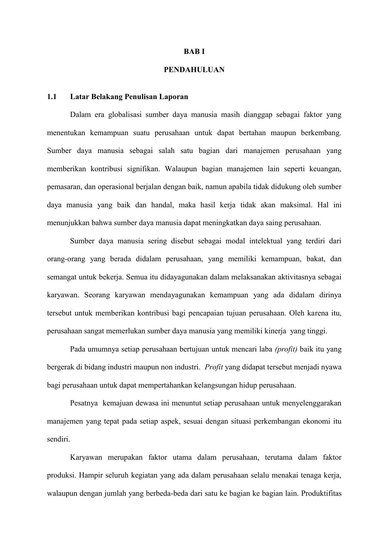 Bab I Pendahuluan 1 1 Latar Belakang Penulisan Laporan