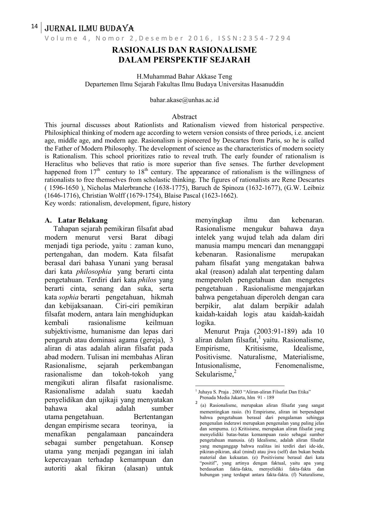 14 Jurnal Ilmu Budaya Rasionalis Dan Rasionalisme Dalam Dilema Usaha Manusia Rasional