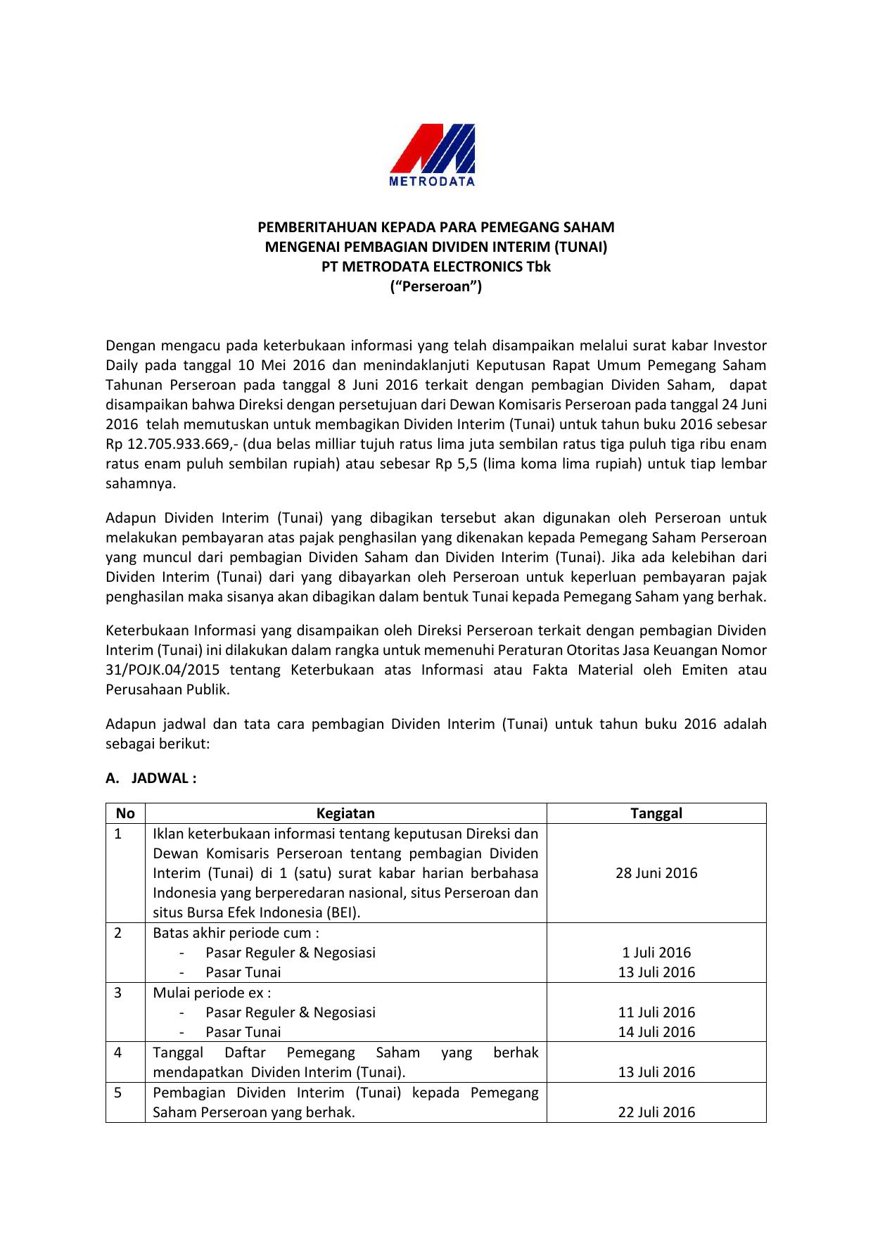 Pemberitahuan Pembagian Dividen Interim Mtdl 2016