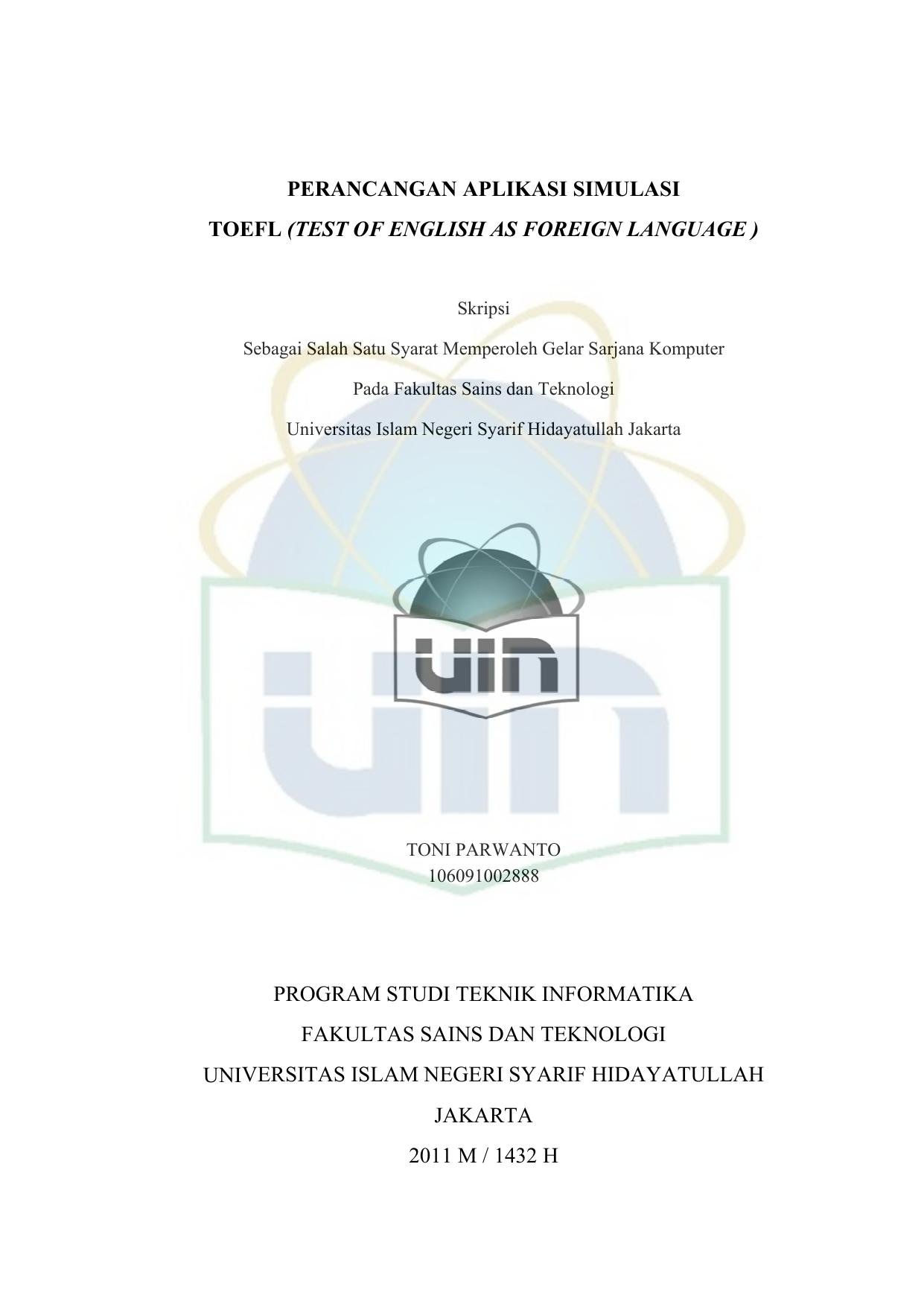 Perancangan Aplikasi Simulasi Toefl Uin Repository