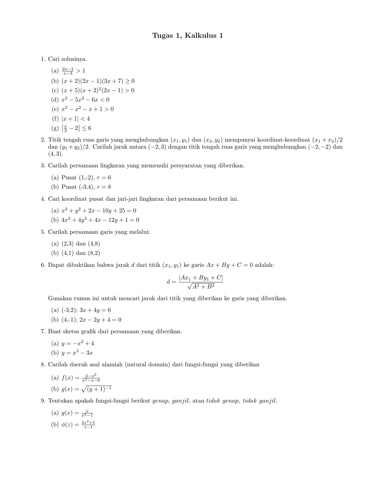 Tugas 1 Kalkulus 1