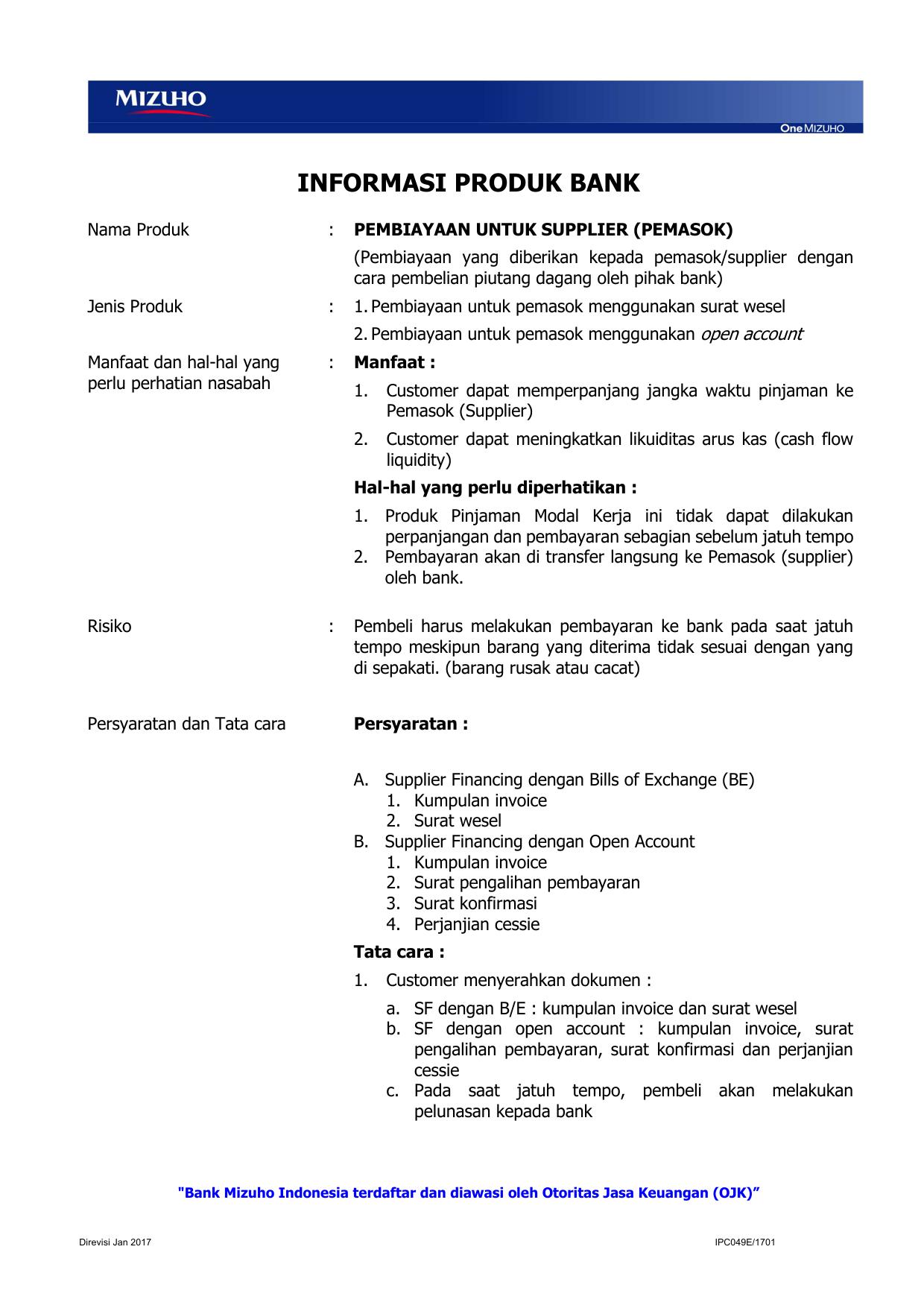 Ipc049ipembiayaan Untuk Supplier Pemasok