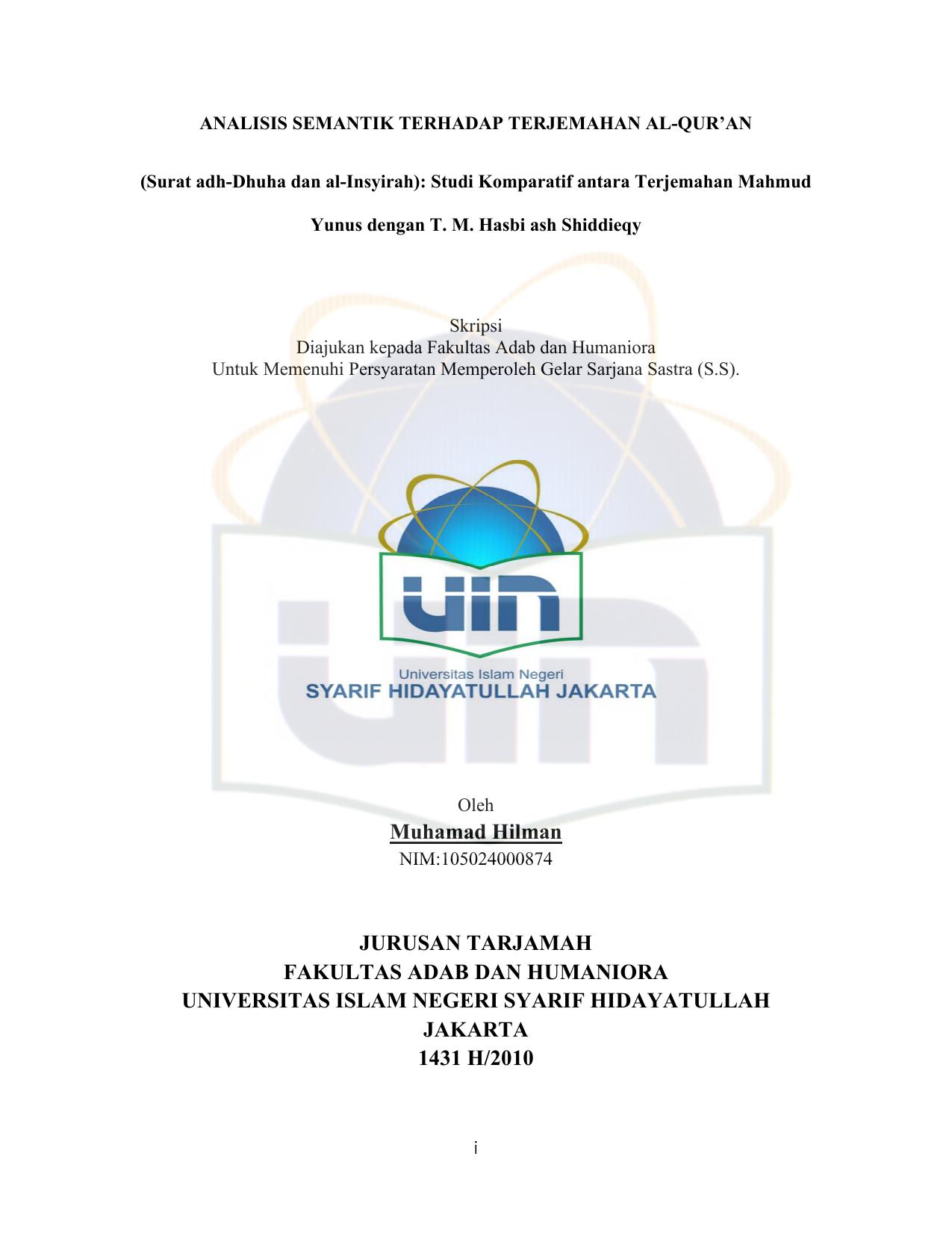 Analisis Semantik Terhadap Terjemahan Al Quran