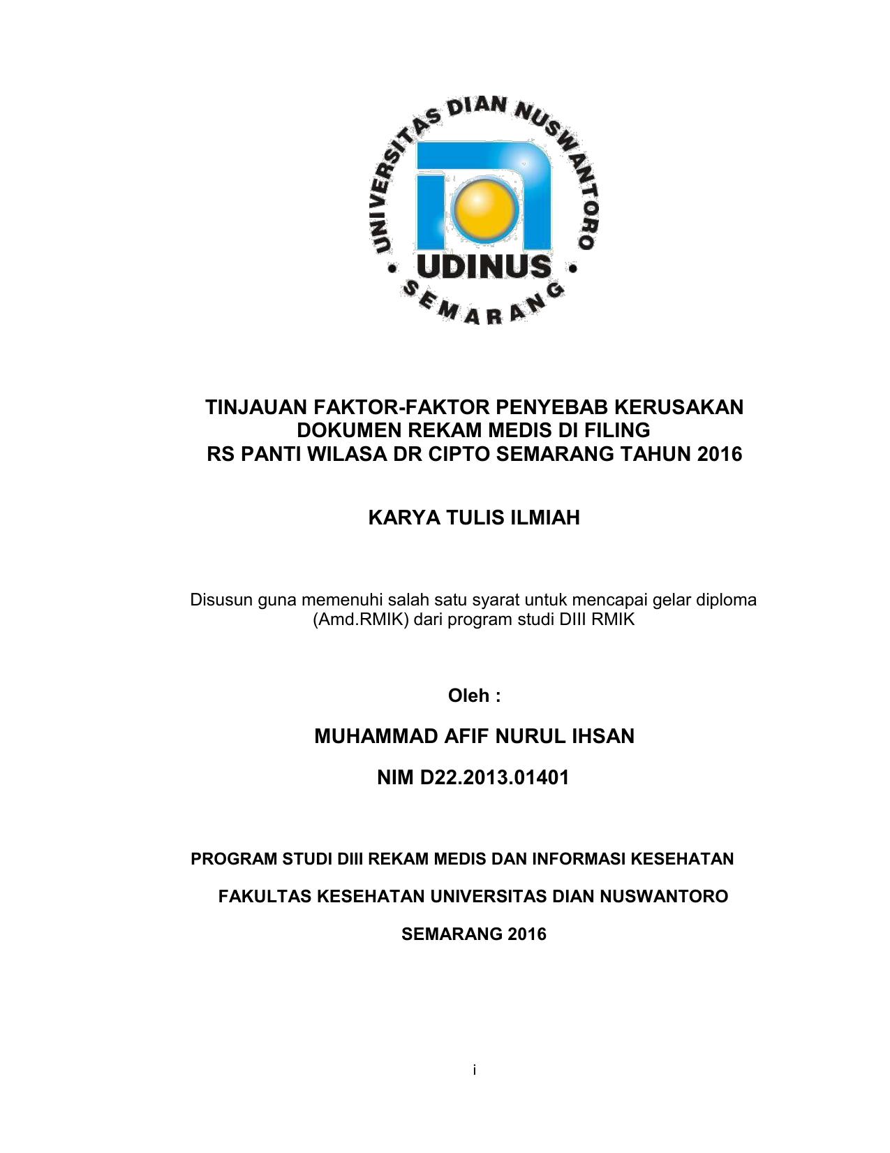 Contoh Proposal Kti D3 Rekam Medis Barisan Contoh